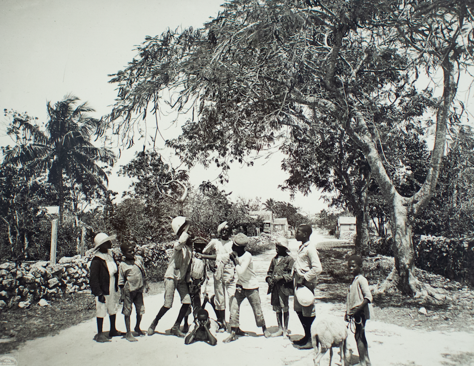 """Untitled (Children and Goat on Dirt Road) , ca. 1901. William Henry Jackson, original glass plate print on archival paper, 11x14"""". Image from the NAGB National Collection."""