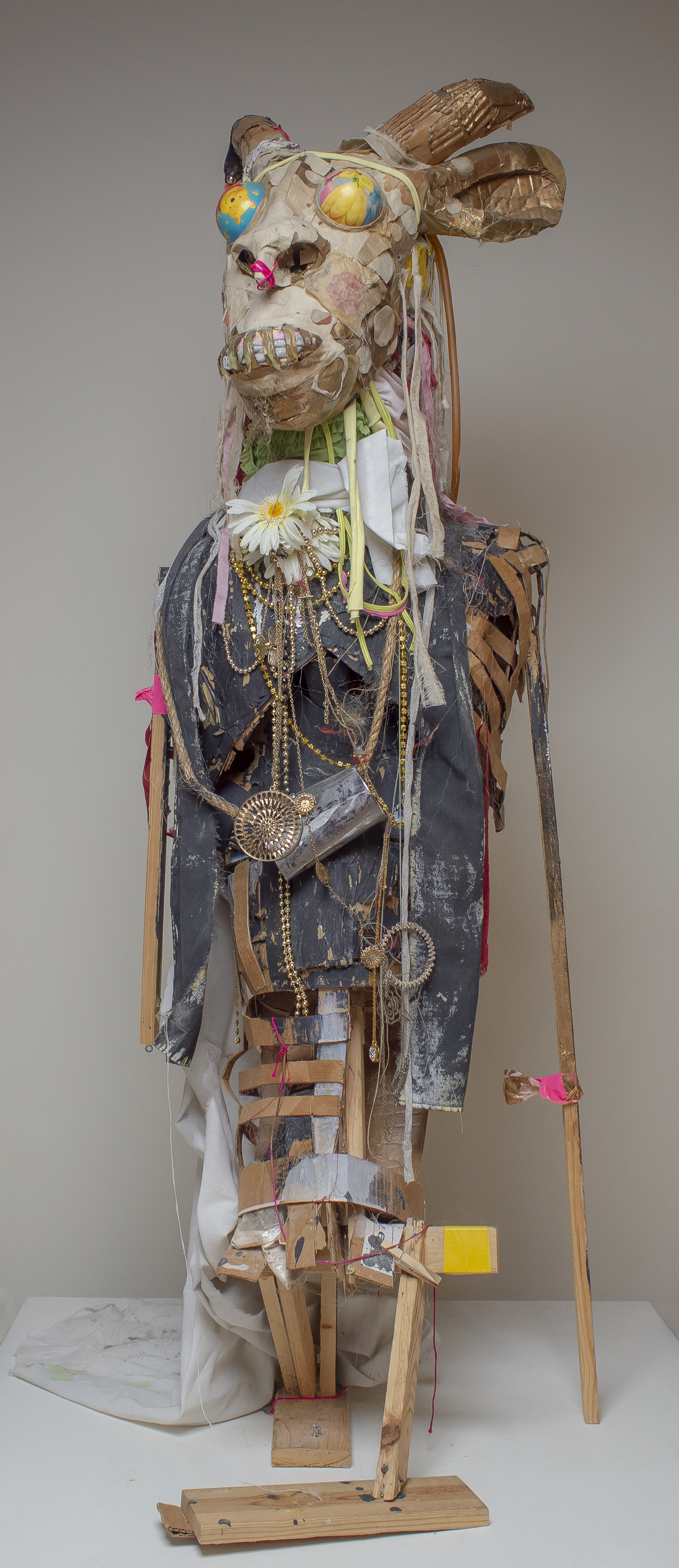 """Details from  Bushmen: Tale of Twin Gods , (2012). Lavar Munroe, From his series """"Grants Town Trickster"""". Mixed Media, 108"""" x 46"""" x 62"""". Work courtesy of Lavar Munroe."""