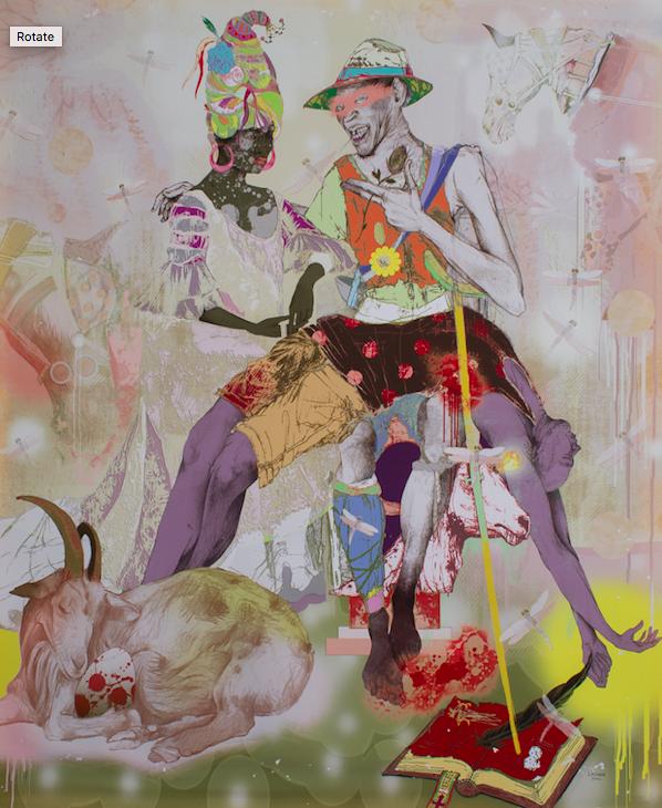 "Love Triangle , (2010), Lavar Munroe. Graphite drawing coloured digitally on Somerset Velvet Paper (Unique Print), 30"" x 20"". Work courtesy of Eugene Munroe."