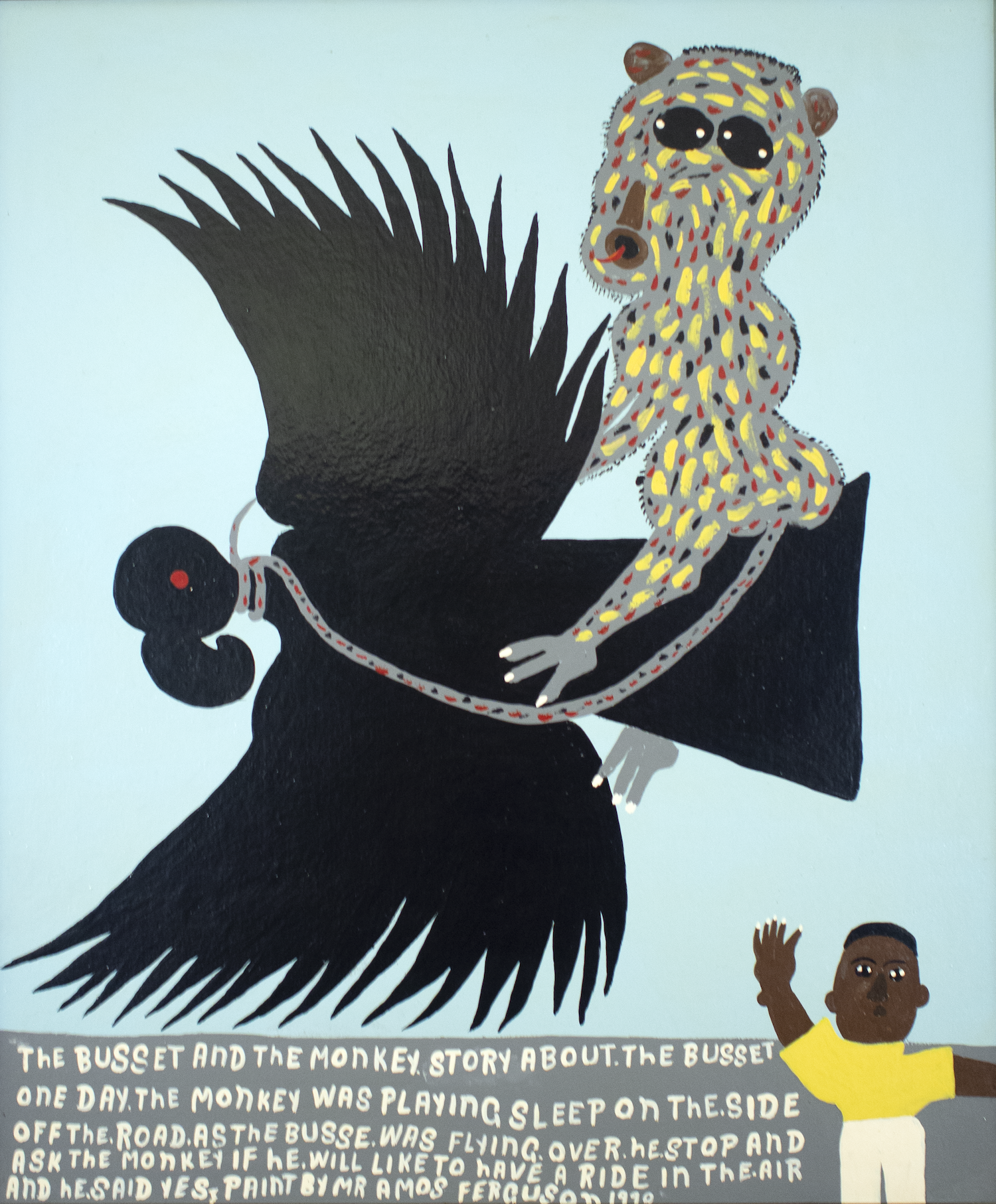 """""""The Bussett and the Monkey"""" , (1991), Amos Ferguson, house paint on board, 36"""" x 30"""". Part of the National Collection, and bravely saved from the Pompey Museum fire to be viewed for generations to come."""