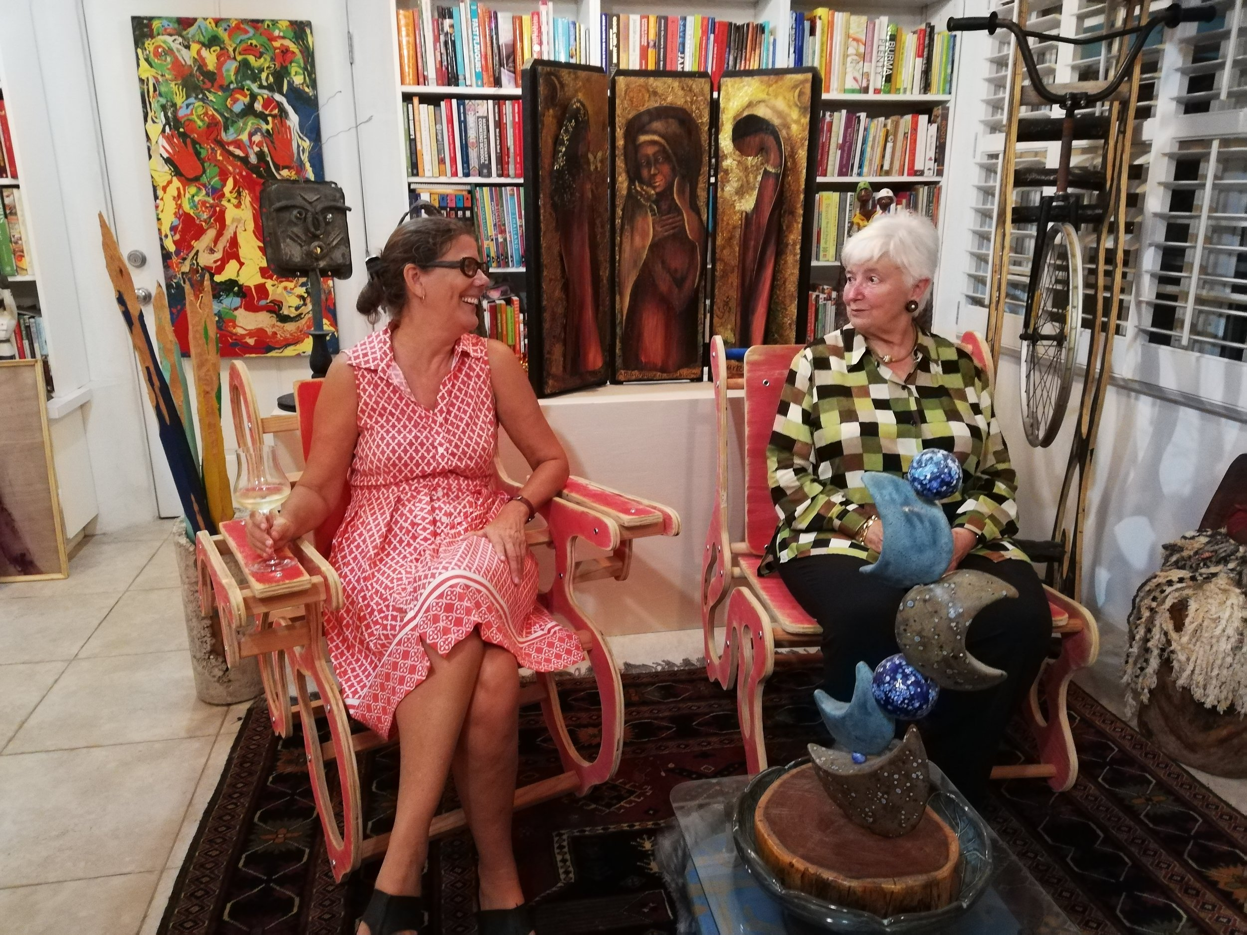 Sasha Dees with Bahamian collector Dawn Davies at her home during one of her many visits.