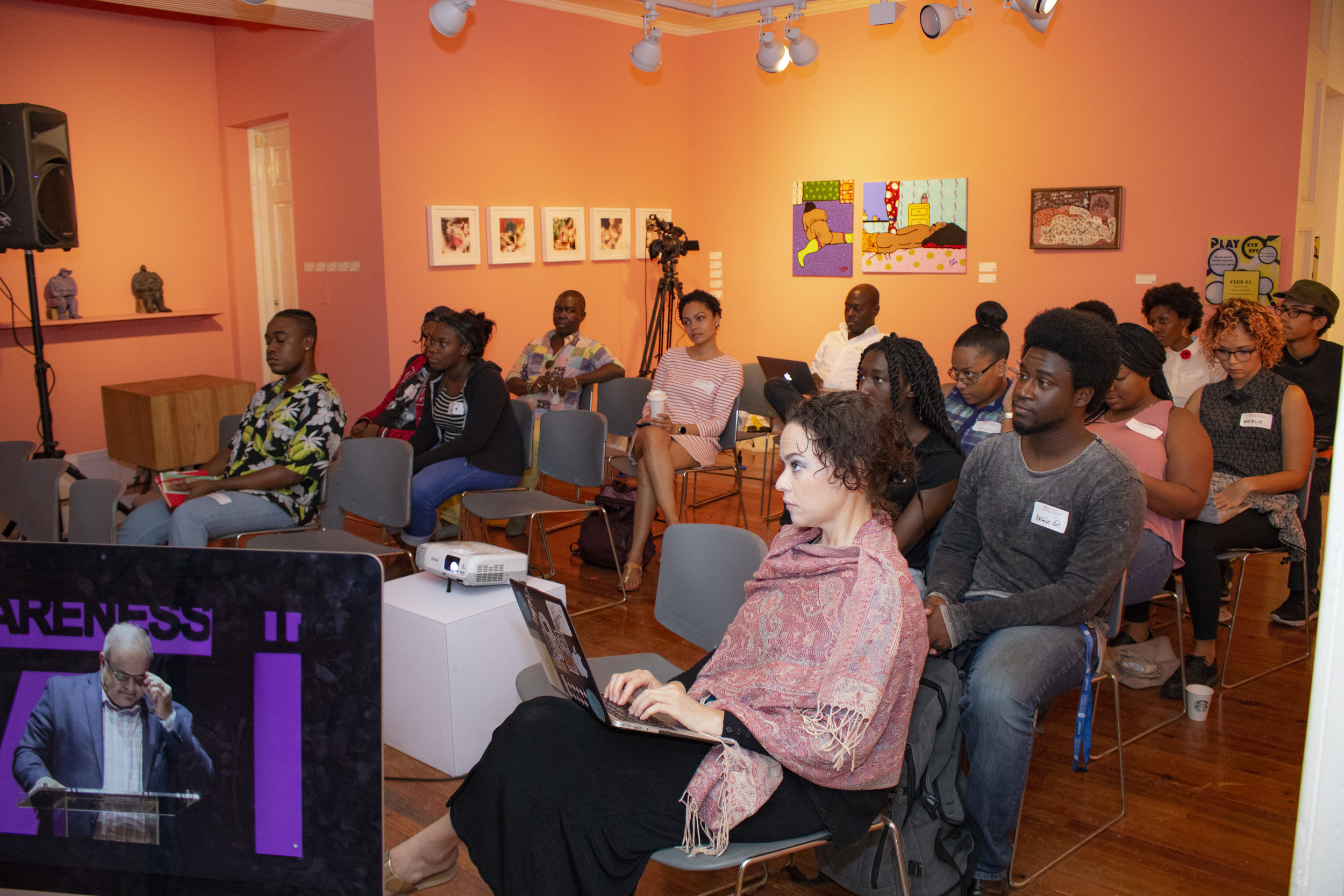 "Attendants at the NAGB hosting of the 2018 Creative Time Summit .which was held in Miami. On Archipelagos and Other imaginaries: Collective Strategies to Inhabit the World"" was the theme for the 11th meeting and the first partnership with the NAGB as a regional institution. Image courtesy of Jackson Petit."