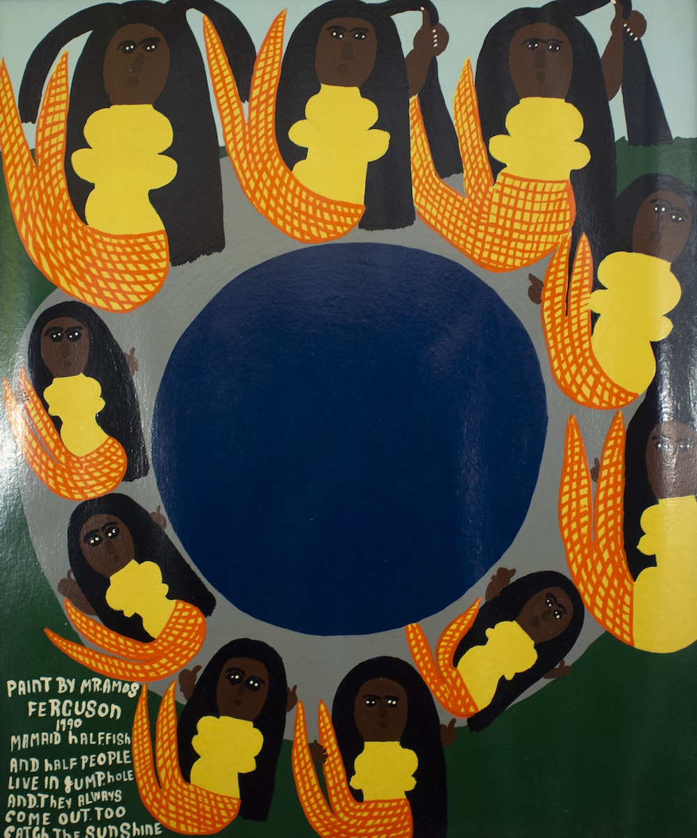 """""""Mamaids. Half Fish Half People"""" (1990), Amos Ferguson, house paint on board, 36"""" x 30"""". Image courtesy of the National Collection."""