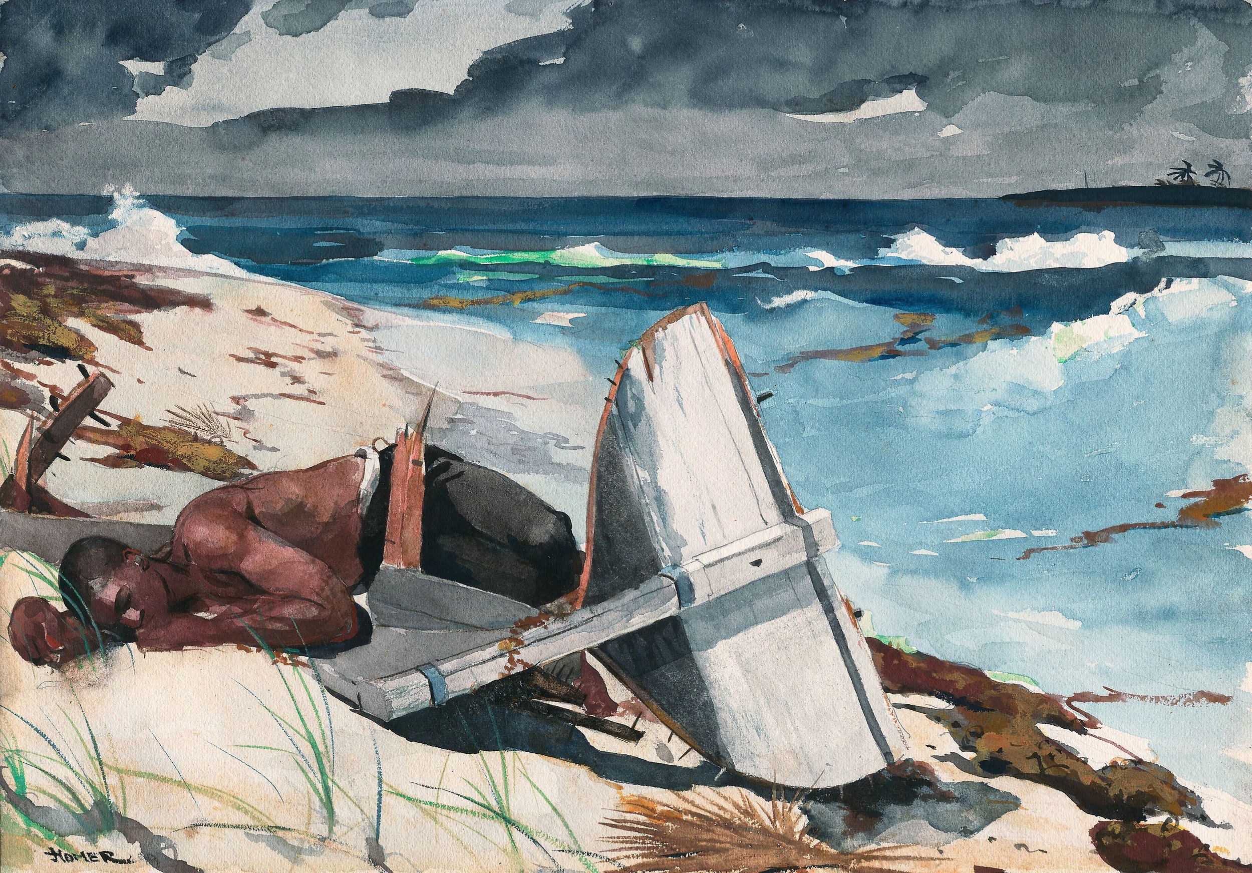 After the Hurricane (1899). Winslow Homer. Transparent watercolor, with touches of opaque watercolor, rewetting, blotting and scraping, over graphite, on moderately thick, moderately textured (twill texture on verso), ivory wove paper Inscriptions Signed recto, lower left corner, in brush and black watercolor. 380 x 543 mm. Image courtesy of Mr. and Mrs. Martin A. Ryerson Collection, sourced from the commons.