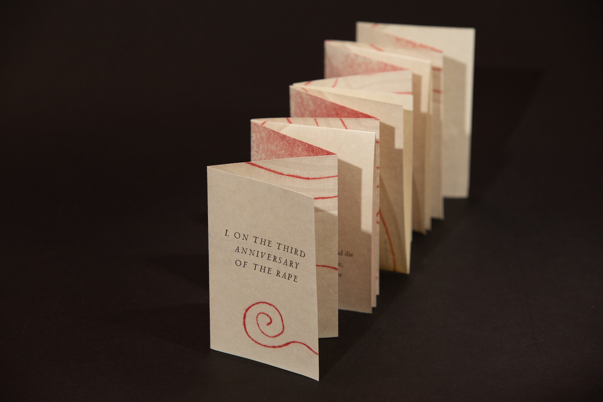"""The Red Thread Cycle"" (2018), Shivanee Ramlochan + Sonia Farmer, letterpress-printed books with recorded reading (Edition of 20), dimensions variable. Collection of the artists. Image courtesy of Dominic Duncombe."