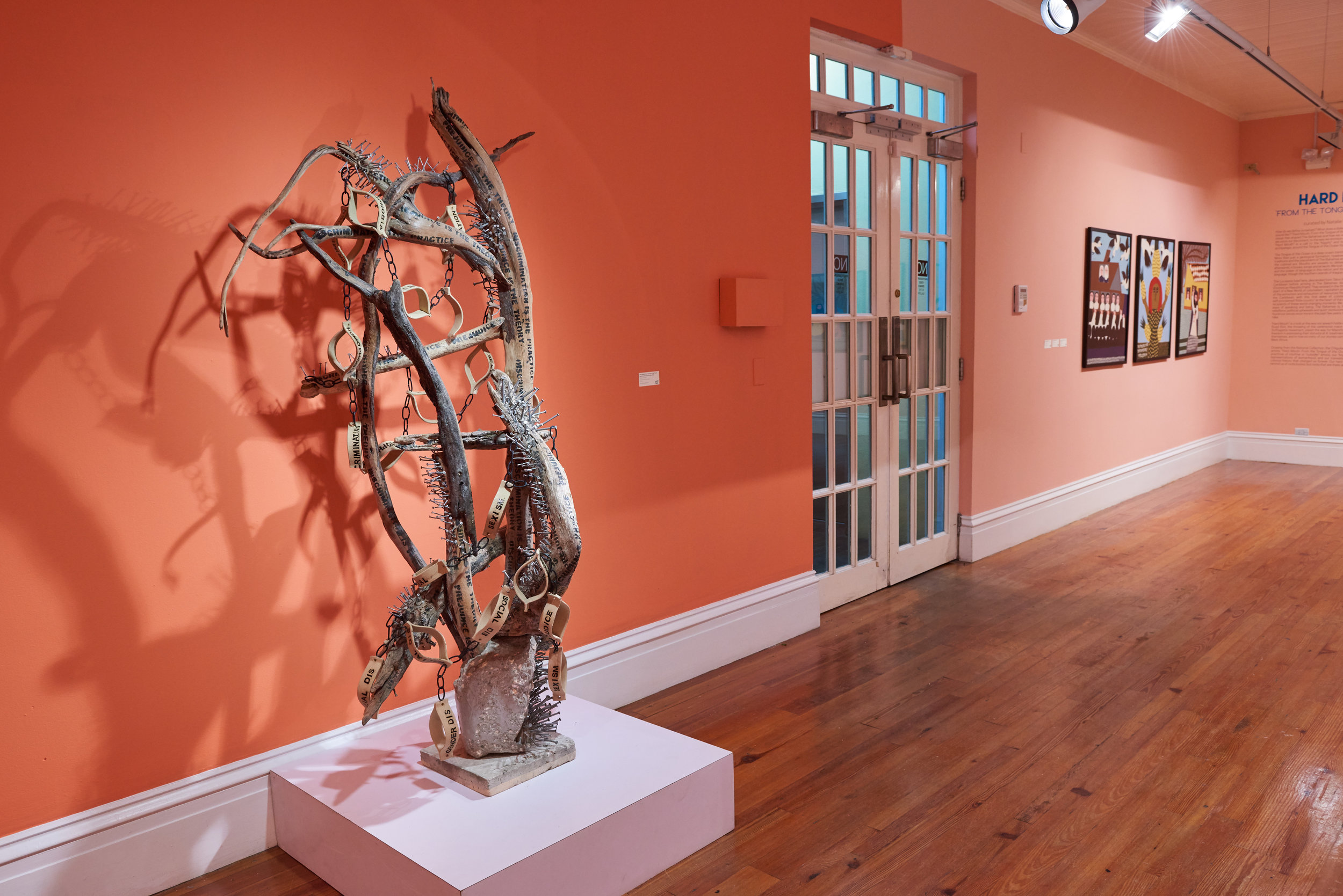 Nkisi/Nkondi Figure: Prejudice is the Theory, Discrimination is the Practice  (2012), Katrina Cartwright, ceramics and mixed media, 5'8 x 4'. Part of the National Collection. Images by Dante Carrer.