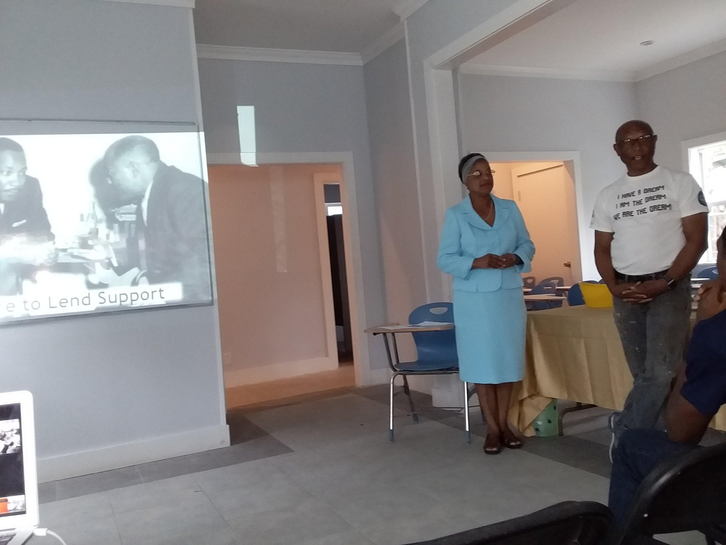 Rosalie Fawkes and Antonius Roberts at the Martin Luther King presentation at the LAHB Center. Photography courtesy of Dede Brown.