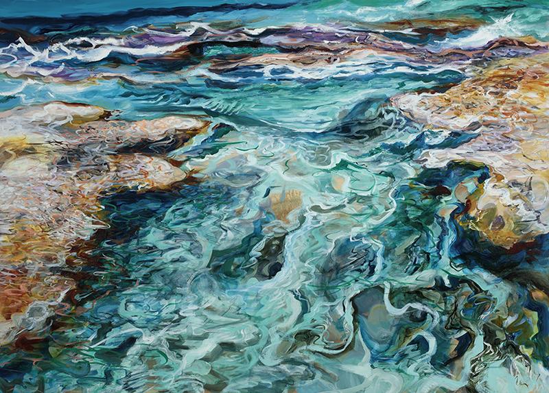 """Bridge, (2018). Lynn Parotti. Oil on canvas. 64.9"""" x 90.5"""". Image courtesy of the artist and the D'Aguilar Art Foundation."""