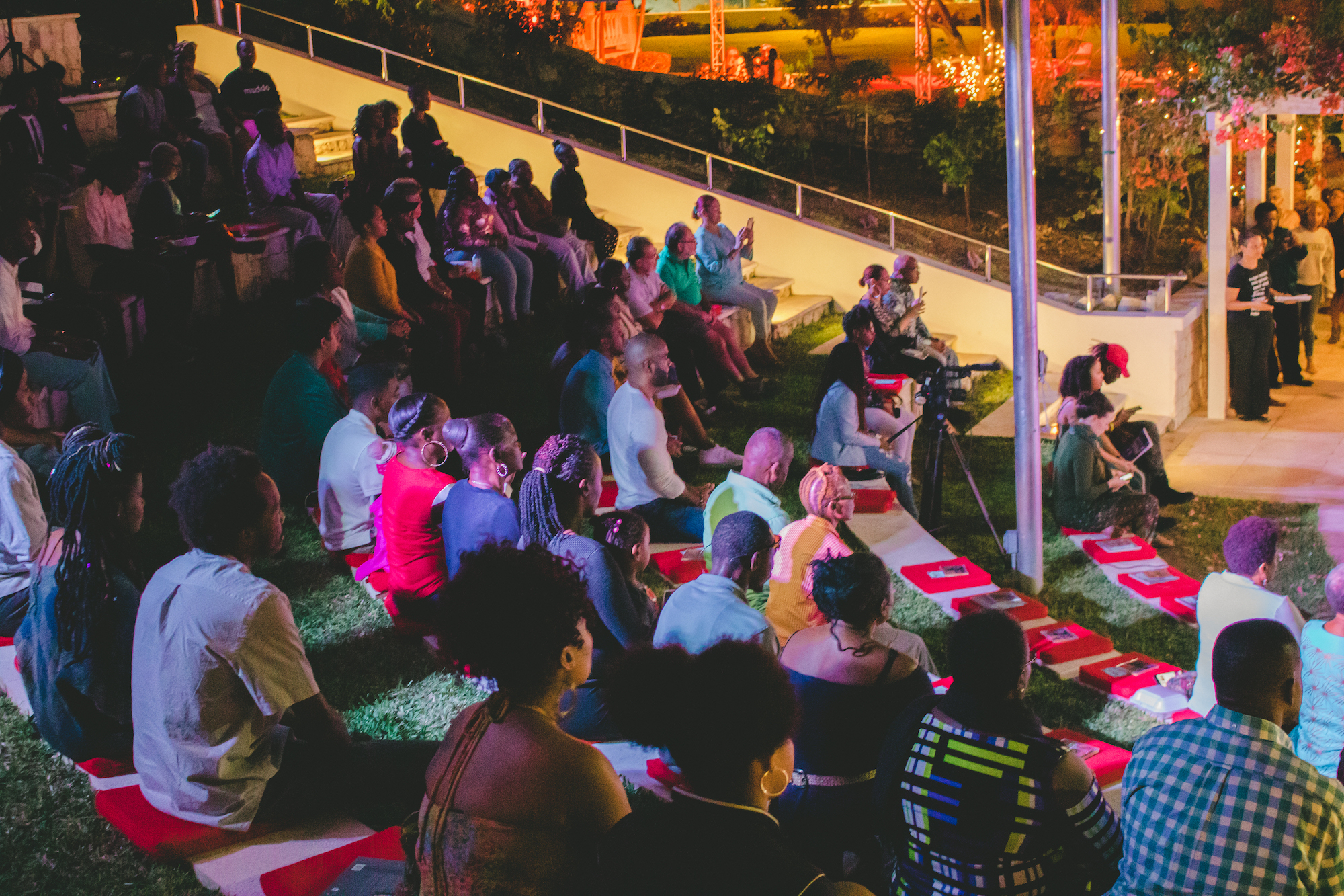 """Crowd enjoying the festivities and words at """"Riddim n Tingum."""" Image courtesy of Jackson Petit and the NAGB."""