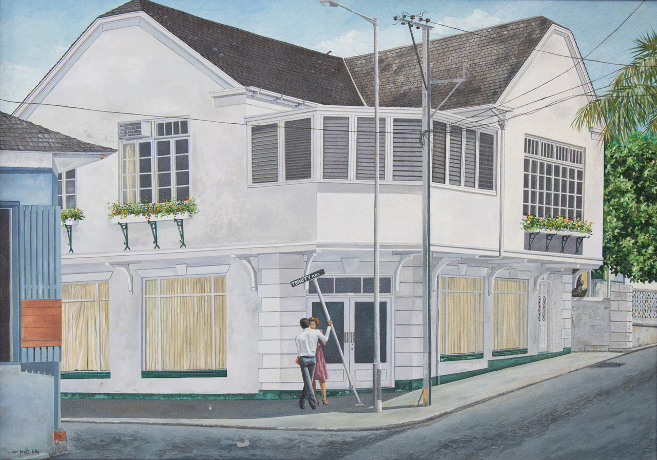 """""""Trinity Place"""" (1984), Chan Pratt, oil on canvas, 40 ¾"""" x 30 ¾"""". Collection of Central Bank of The Bahamas."""