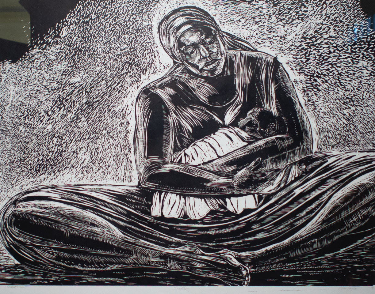 "For Mothers Everywhere - ""Sukling"" (c2000), Maxwell Taylor, woodcut print on paper, 36 x 48 inches. Part of the National Collection of The Bahamas."