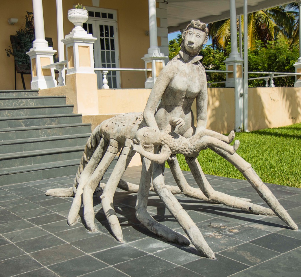 "From the Magical mothers - ""Crawfish Woman"" (2000), Wellington Bridgewater, concrete, 108 x 60 inches. Part of the National Collection of The Bahamas."