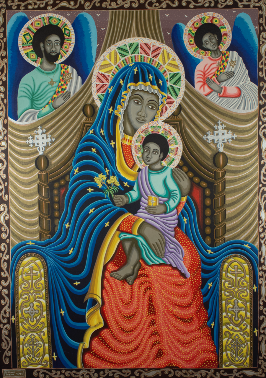 "To the divine  - ""Untitled (Madonna and Child)"" (1999), Rembrandt Taylor, acrylic on canvas, 50 1/2 x 36 inches. Part of the National Collection of The Bahamas."
