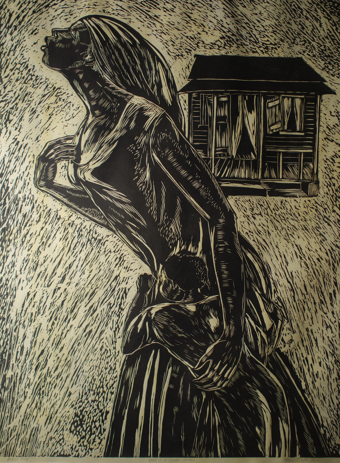 """Ain't I A Good Mother"" (2003), Maxwell Taylor, woodcut print on paper, 48 x 36 inches. Part of the National Collection of The Bahamas."