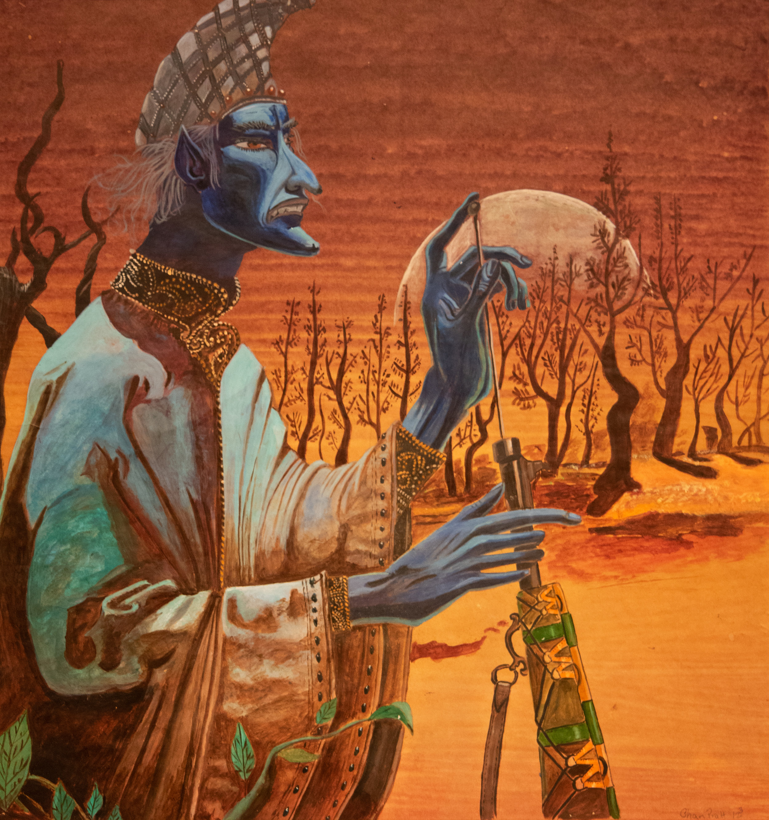 """Warrior God"" (1982), Chan Pratt, acrylic on paper, 18 ½ x 17 ½ inches. Part of the Chan Pratt Foundation Collection."