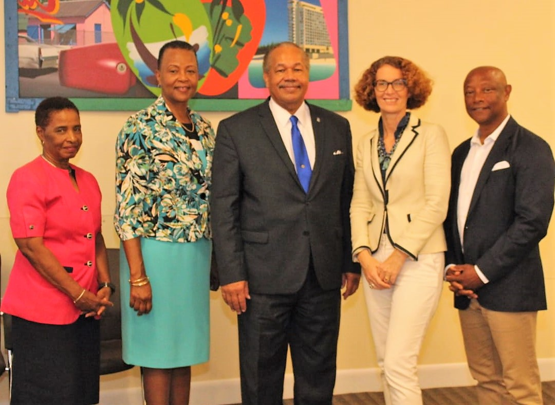 From left are:Dr. Pandora Johnson, Office of the Provost, UB; Dr. Linda A. Davis, Provost, UB; Dr. Rodney D. Smith, President, UB; Mrs. Amanda Coulson, Director, NAGB; Mr. Antonius Roberts, OBE, Art Curator and Artist-in-Residence, UB.
