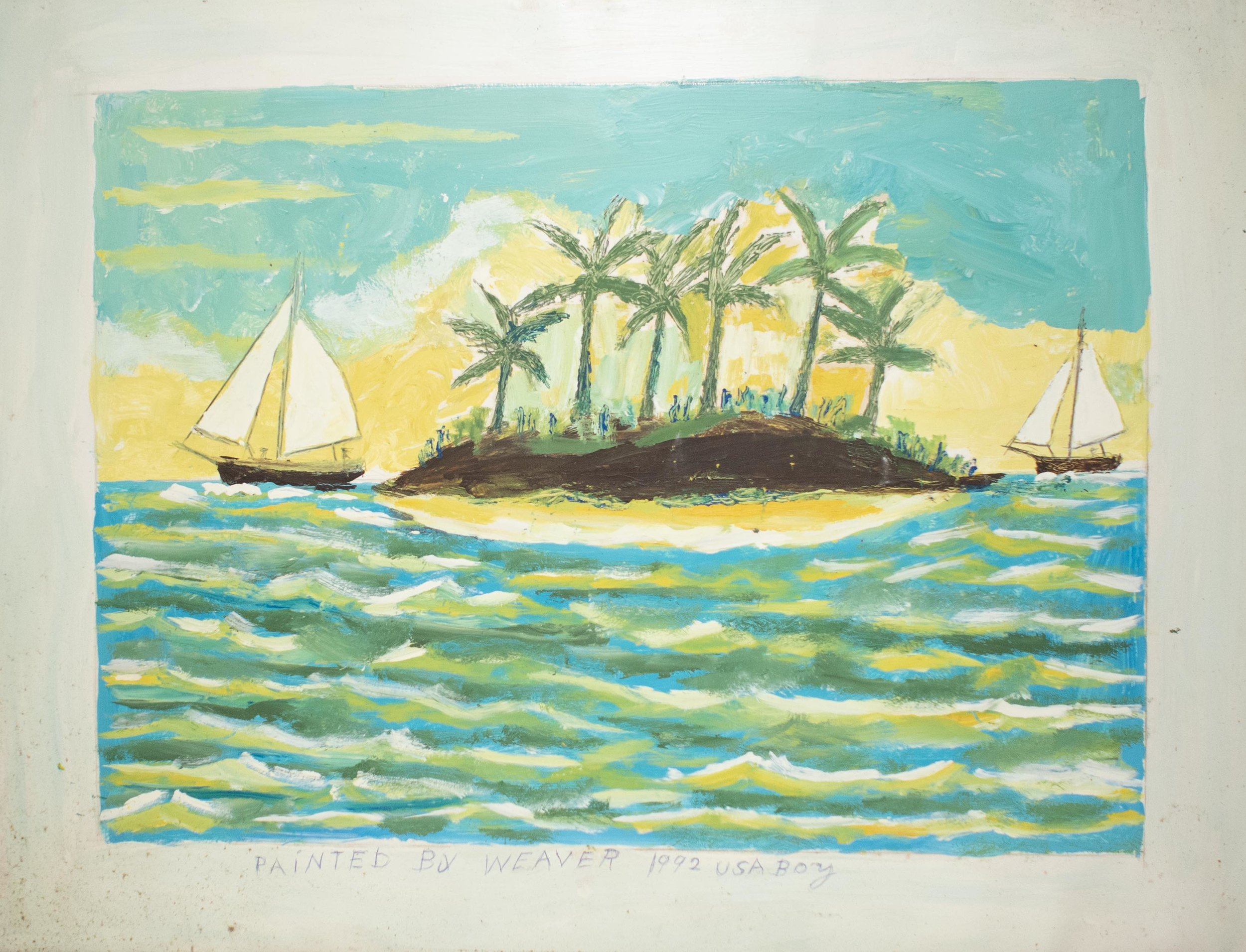 Joe Monks. Cay with two sailboats II, acrylic and pencil on card. 1992.