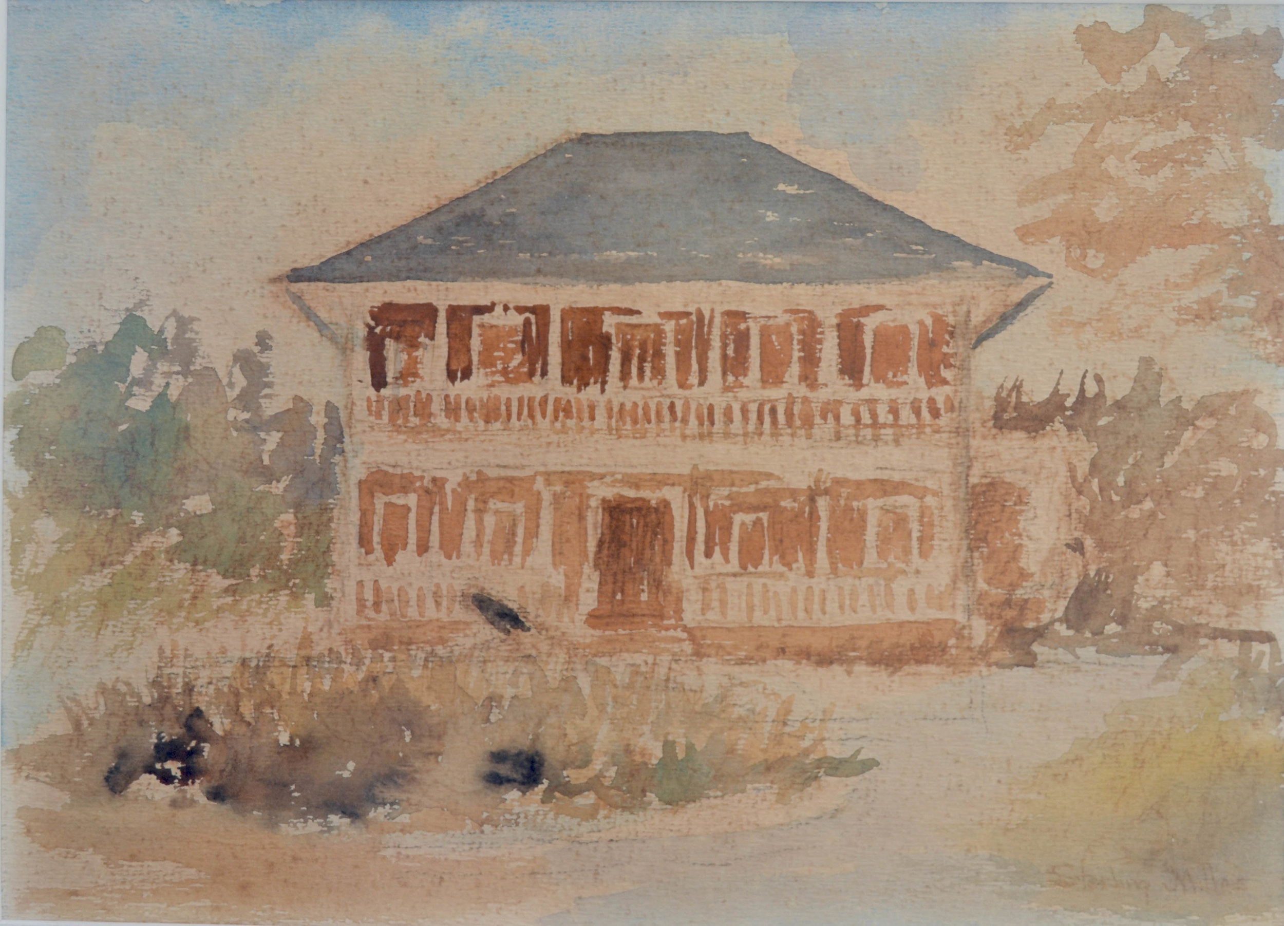 """""""Villa Doyle"""" (1969), Sterling Miller, watercolour on paper, 10 x 14 inches. Part of the National Collection, gifted by Jane & Anders Wiberg."""