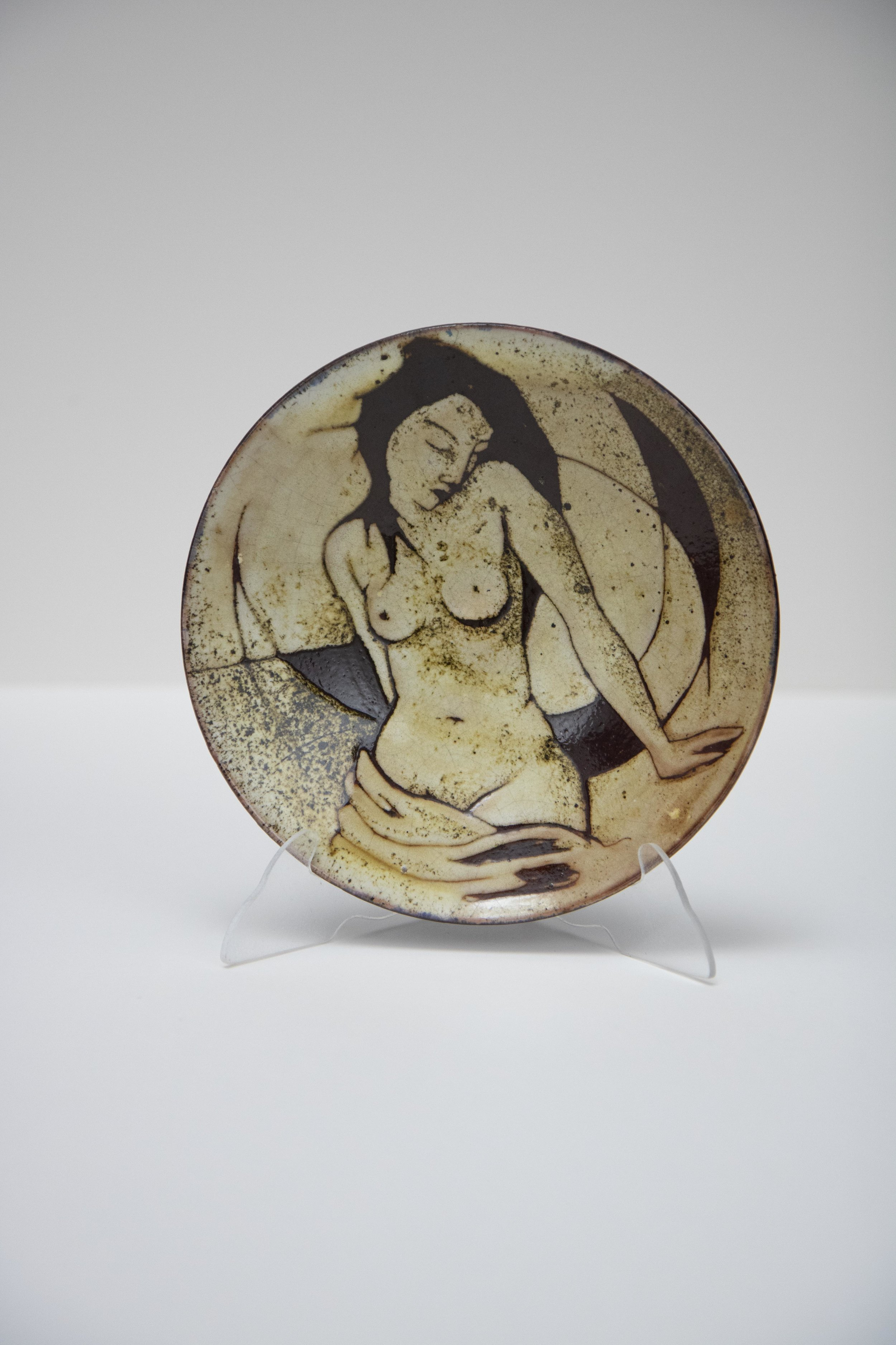 """Untitled (Nude Woman)"" (1959), Produced at the Chelsea Pottery, ceramic, 8¼ diameter. Part of the National Collection."