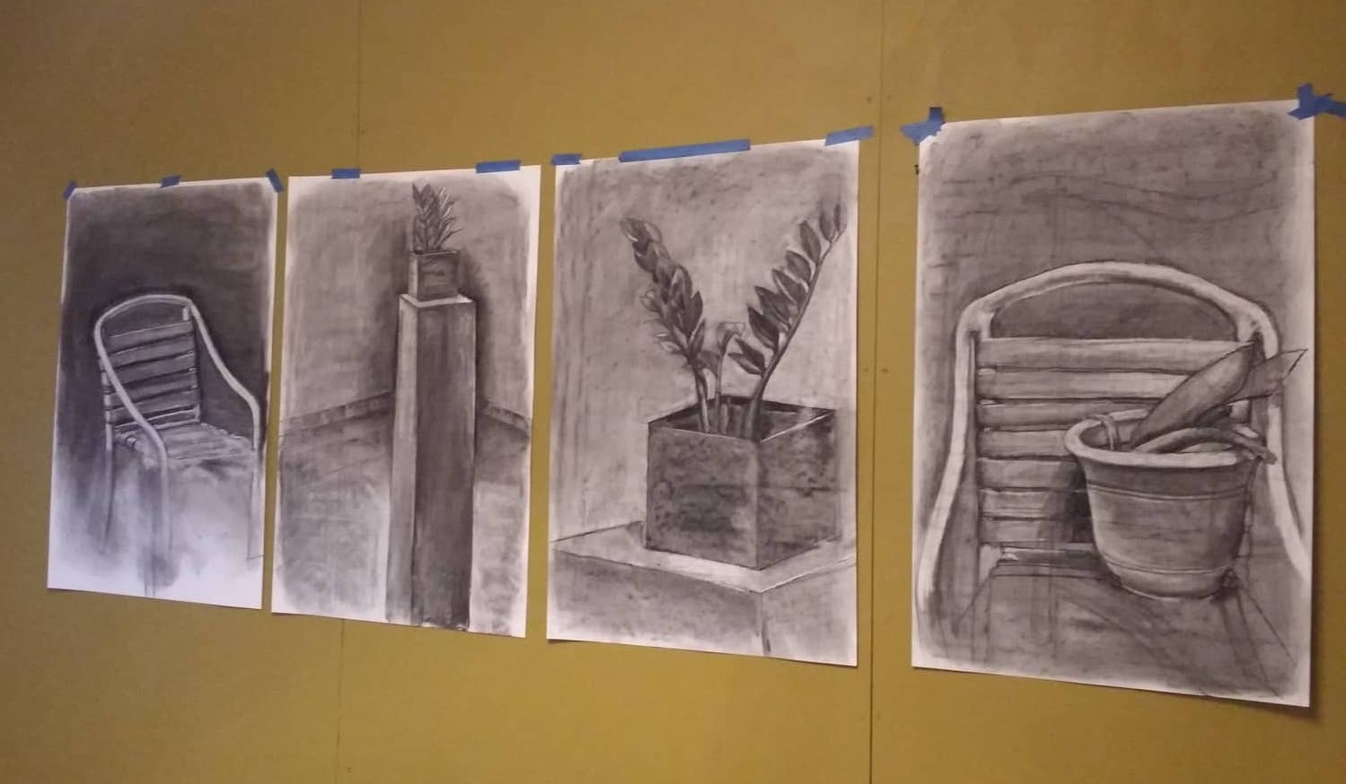 "A full scope of works exhibited in the showcase, ""And This What I Will Do"" by Jodi Minnis. Medium: charcoal."