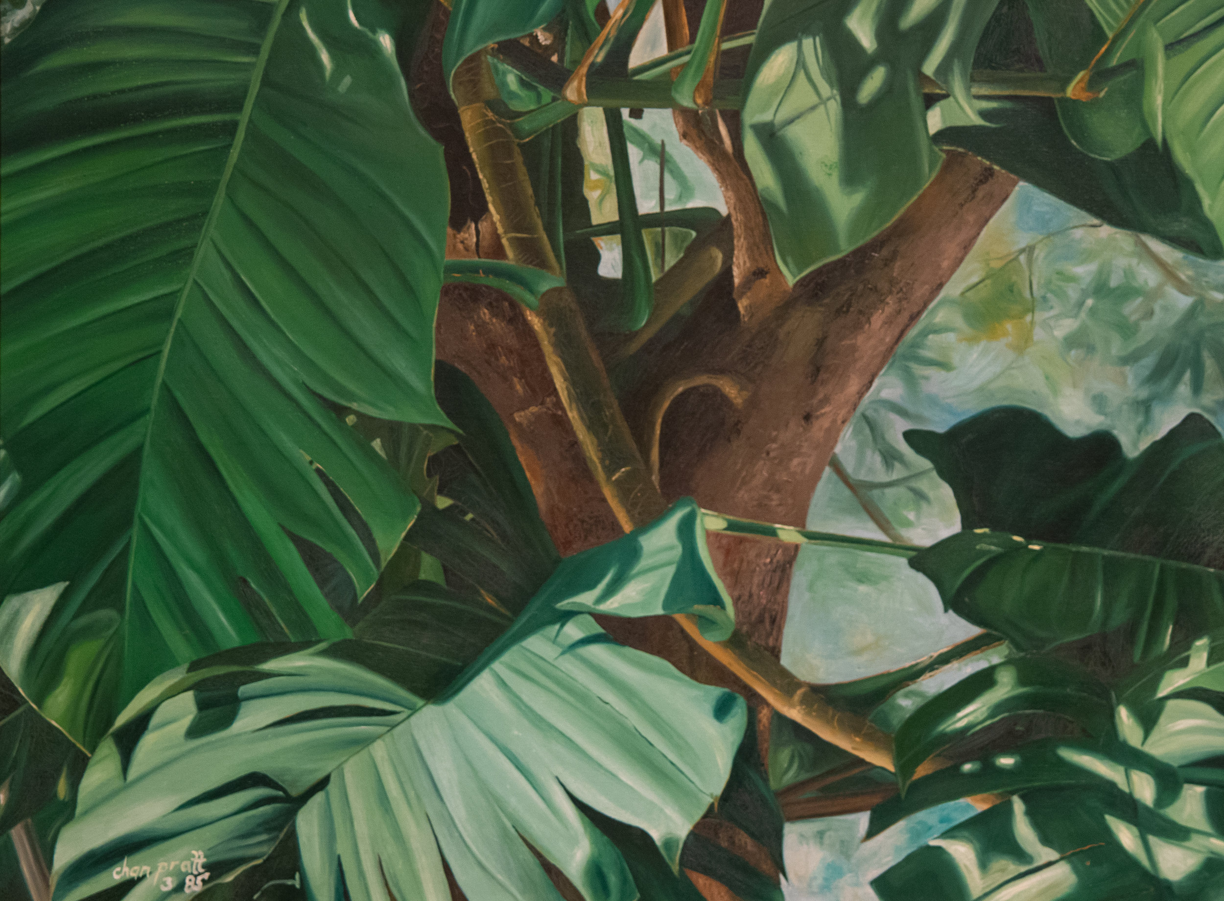 """""""Leaves"""" (1985). Chan Pratt. Acrylic on canvas, 18"""" x 24"""". Image courtesy of Gia and Don Kester."""