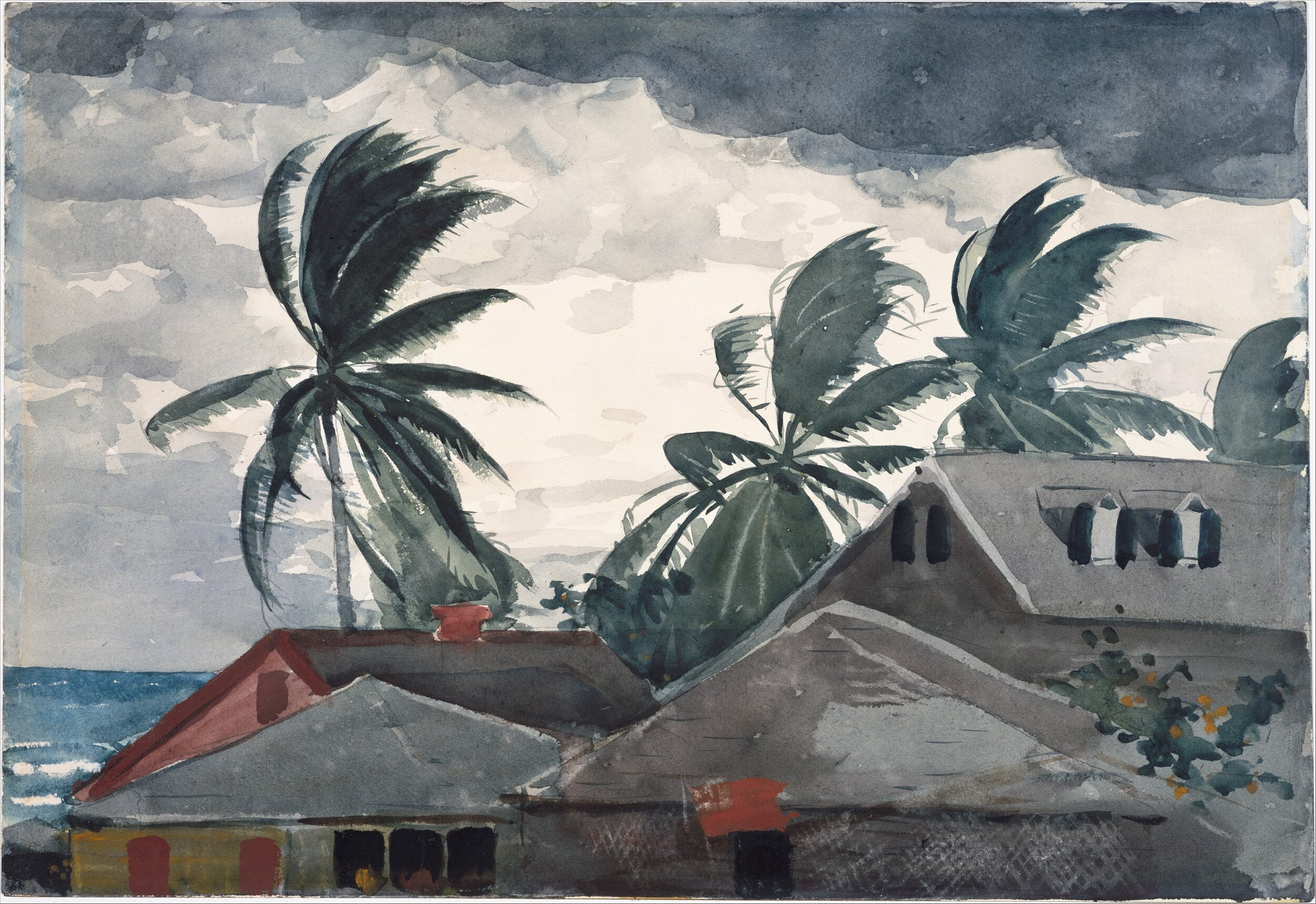 Winslow Homer. Hurricane, Bahamas. 1898. Watercolor and graphite on off-white wove paper. Copyright: Amelia B. Lazarus Fund, 1910.  www.metmuseum.org