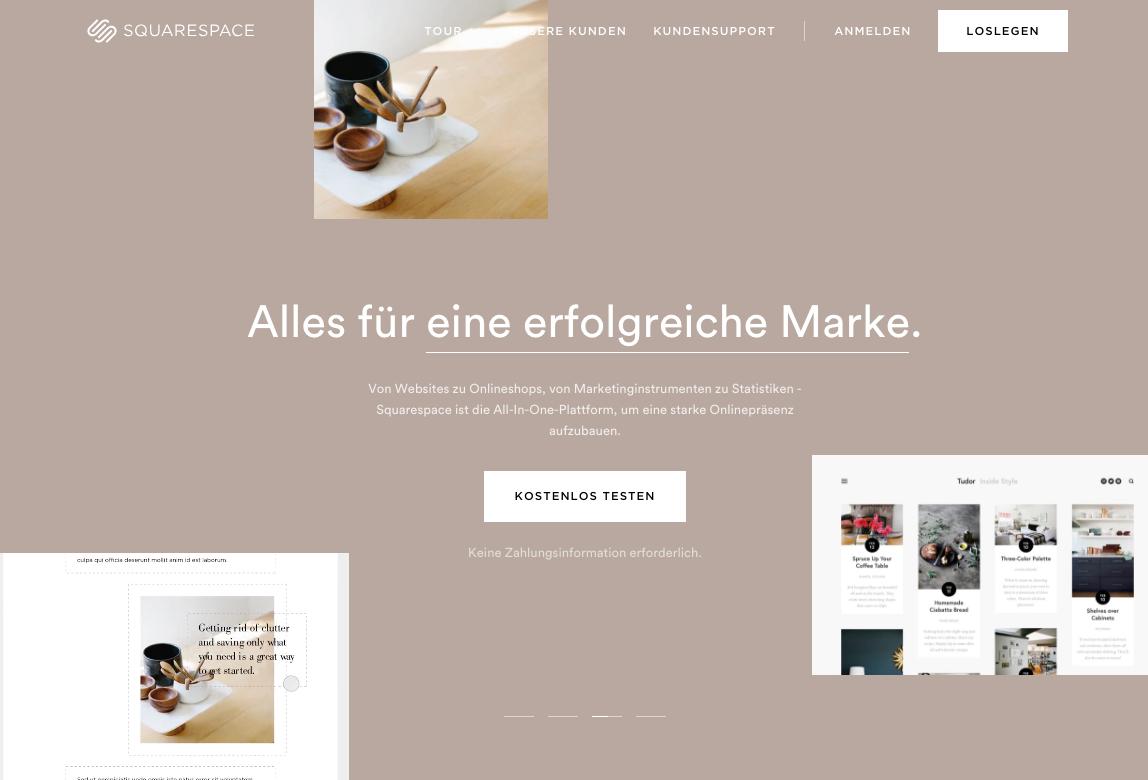 Squarespace homepage in German