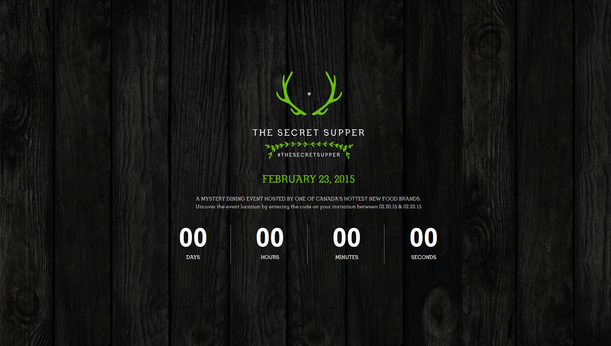 Secret Supper Event Countdown Page