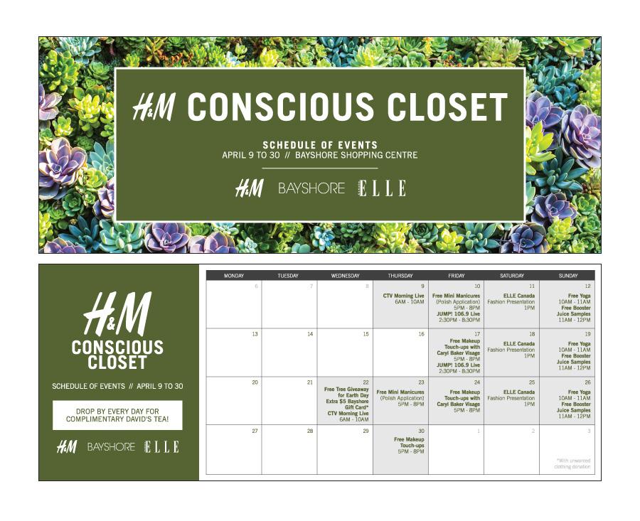 Bayshore Shopping Centre: H&M Conscious Closet Campaign Collateral