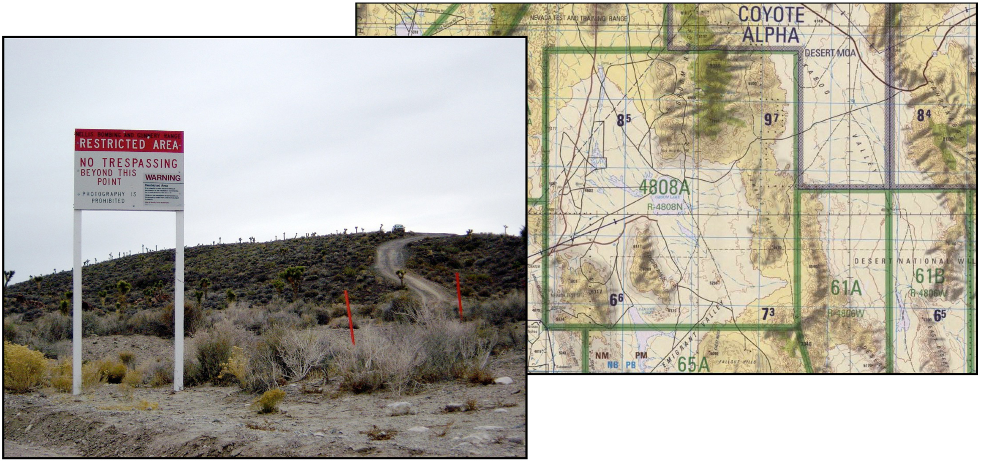 Area 51 border and warning sign —Nevada Test Range topographic chart centered on Groom   Lake and showing the restricted air-space area 4808