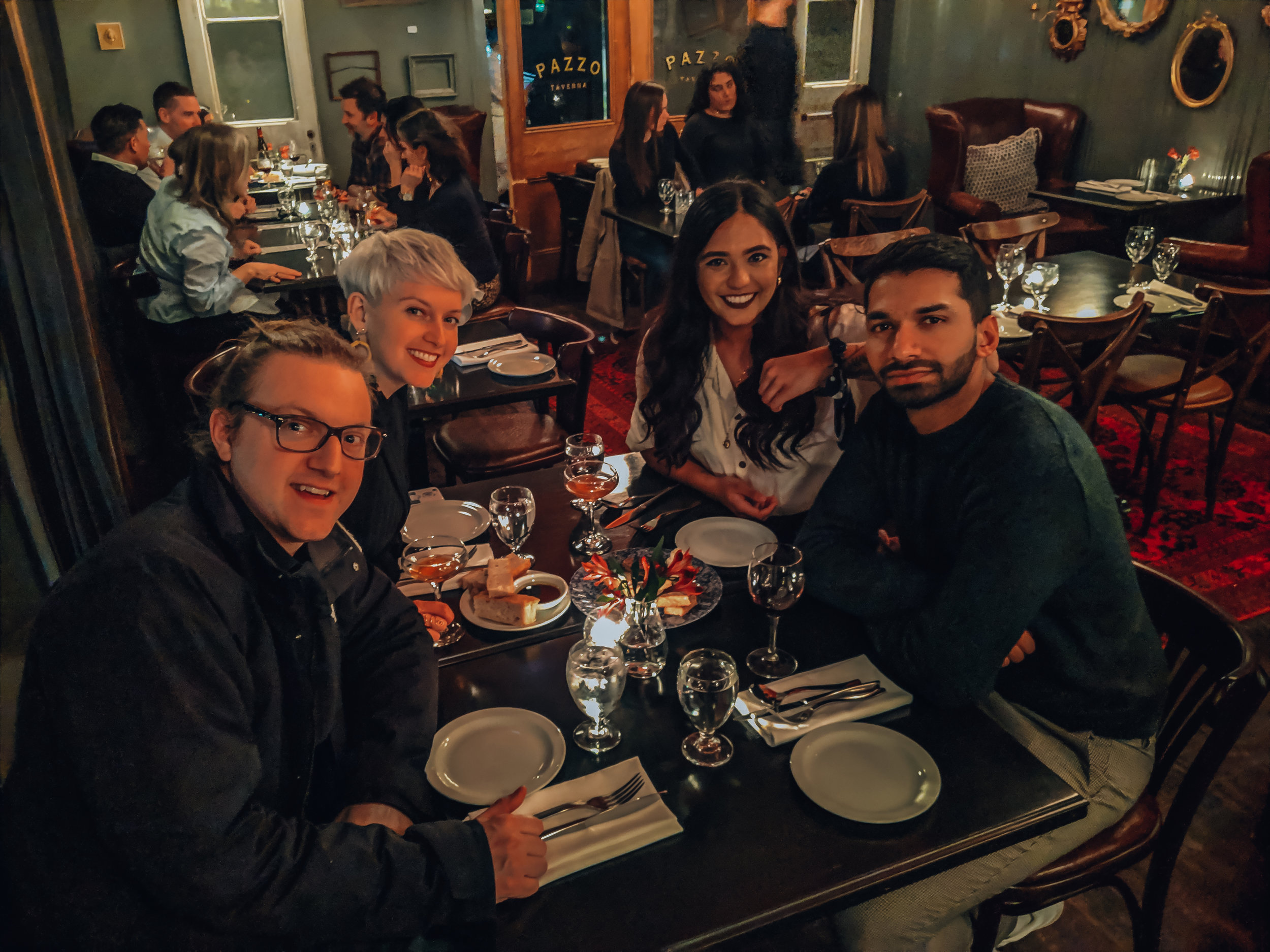 Claire, David, Alistair, and I at Pazzo