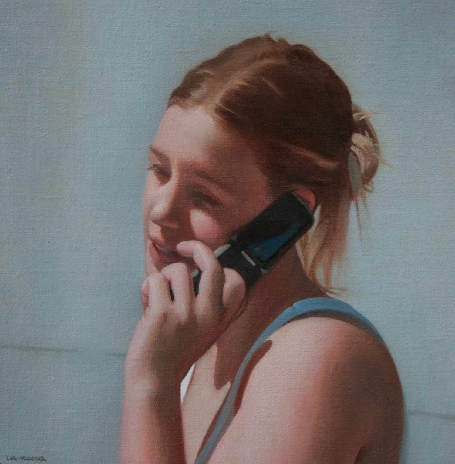 Talk , 2008, Oil on linen, 11 x 11 inches, Private collection