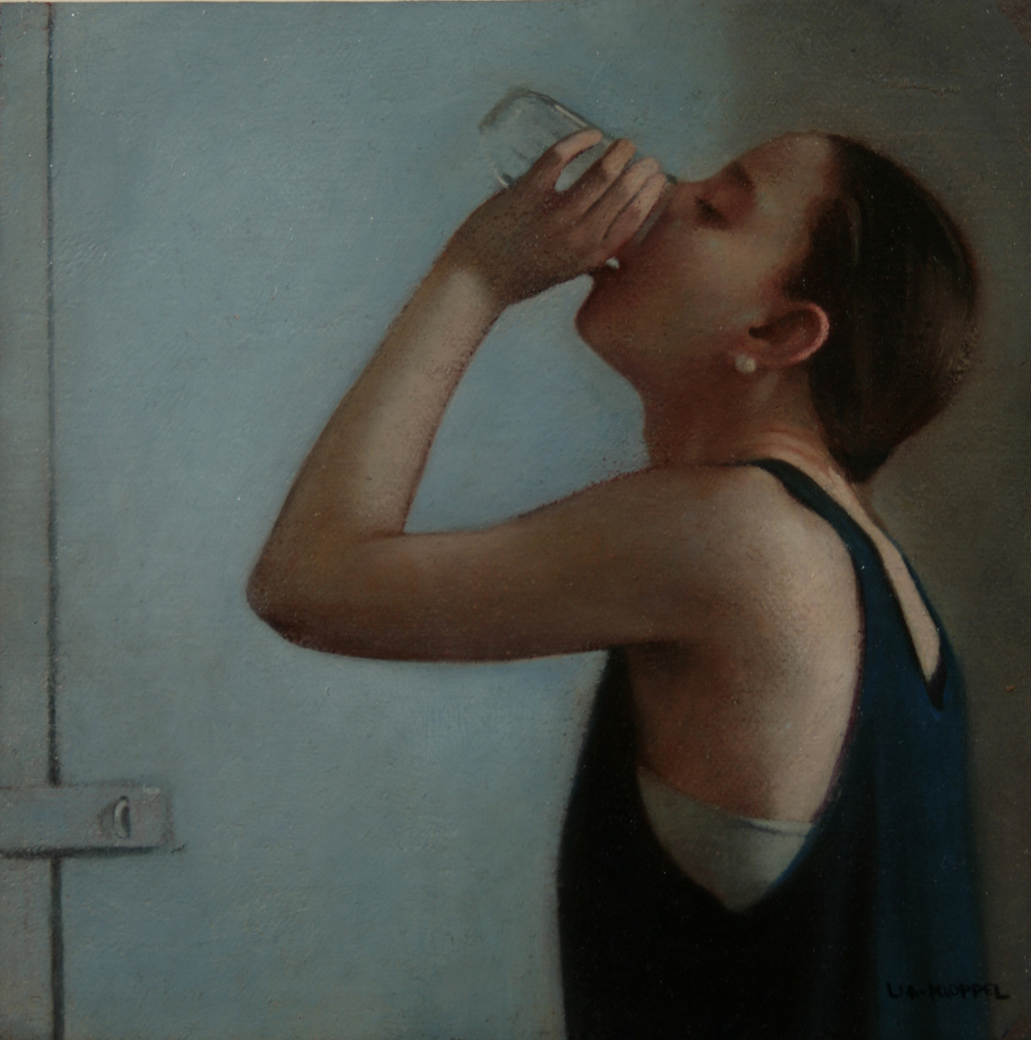 Drink,  2007, Oil on linen, 9 x 9 inches, Private collection