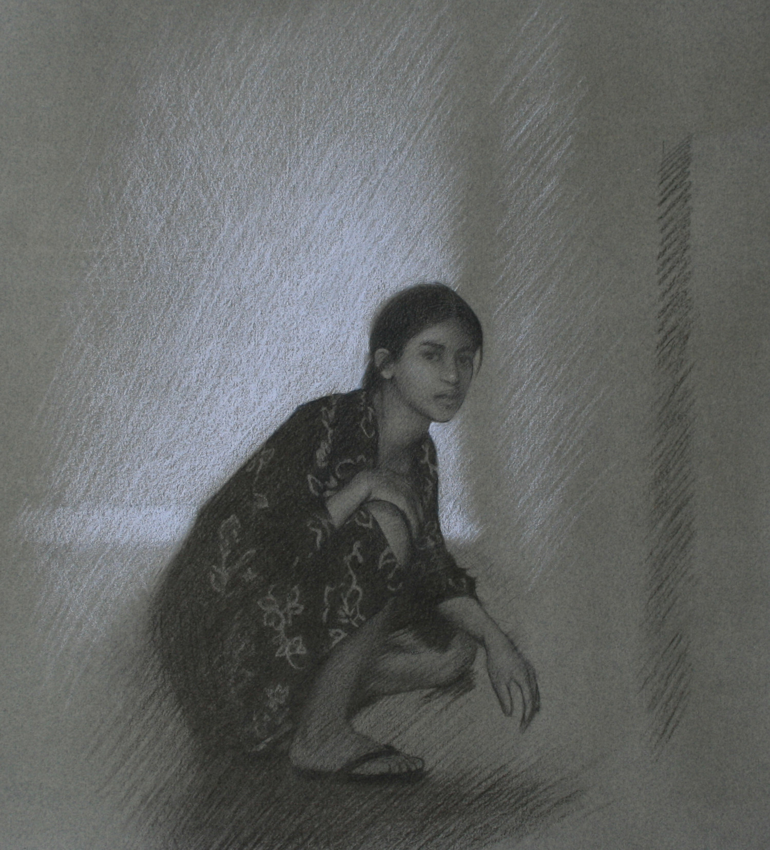 Passage Study,  2009, Charcoal on paper, 15 x 14 inches, Private collection