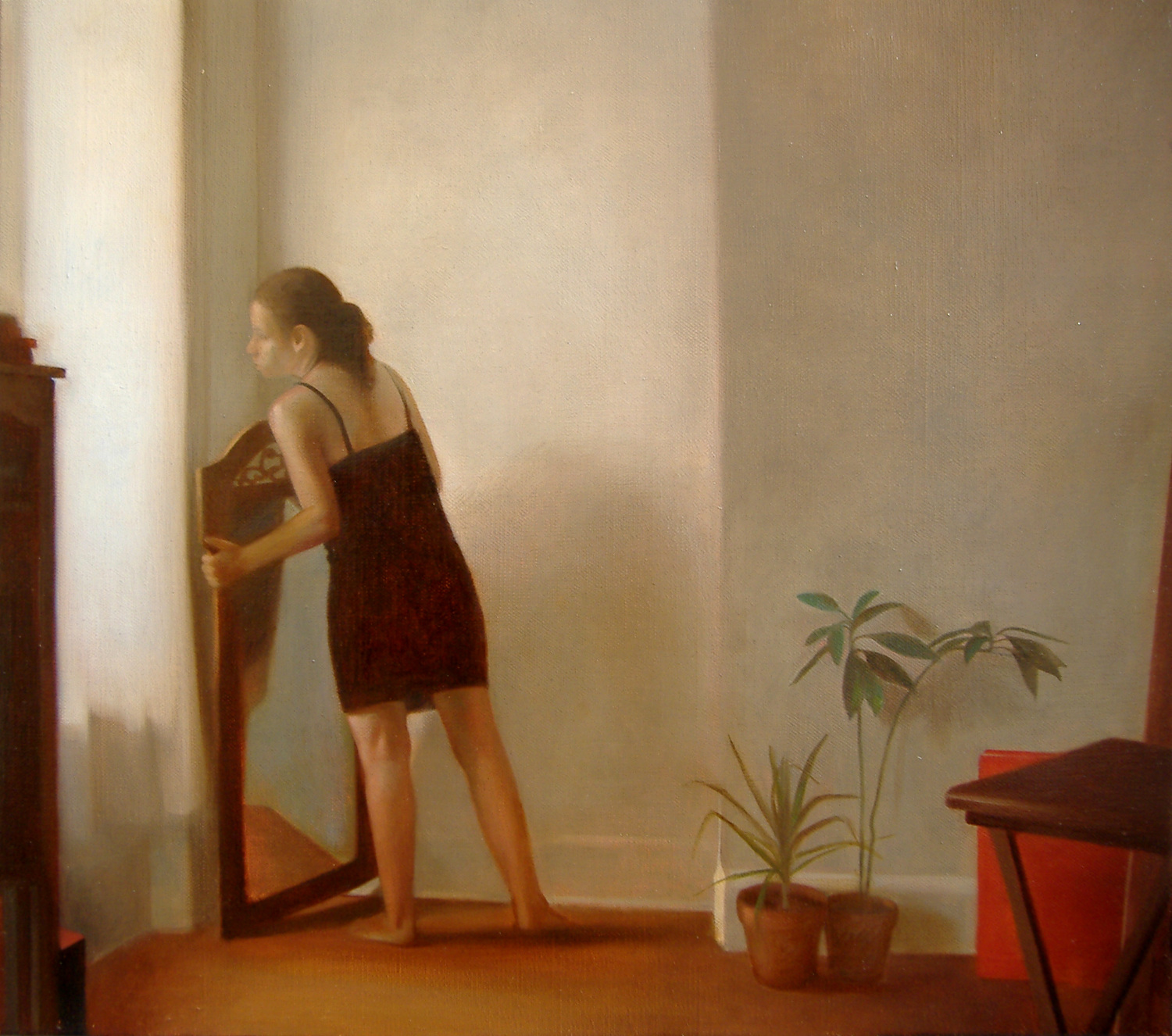 Woman Moving a Mirror , 2007, Oil on linen, 18 x 24 inches, Private collection
