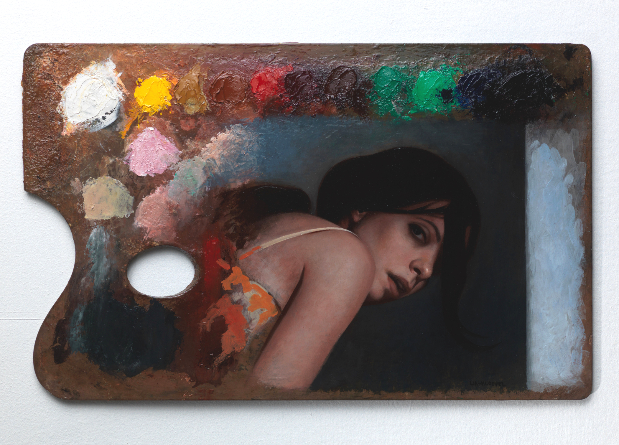 Palette Painting , 2016, Oil on a wood palette, 11 x 17.5 inches, Private collection