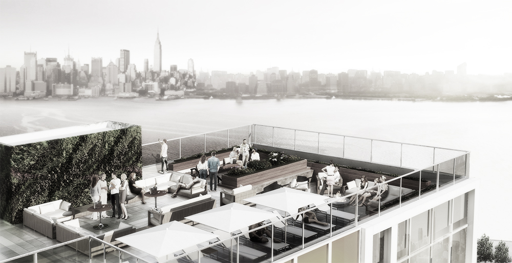 Rooftop on ninth floor with a view of Manhattan