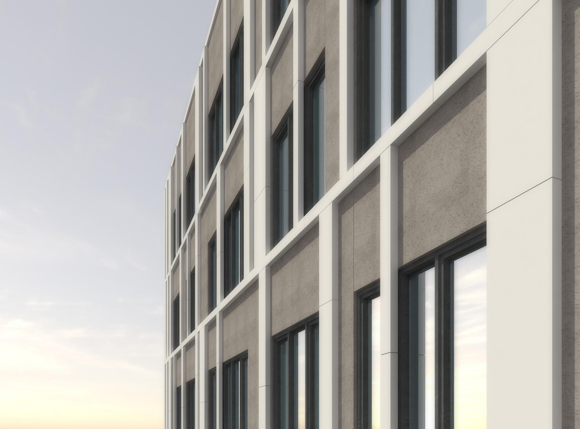 facade detail: aluminum composite panel and glass fibre cement panel