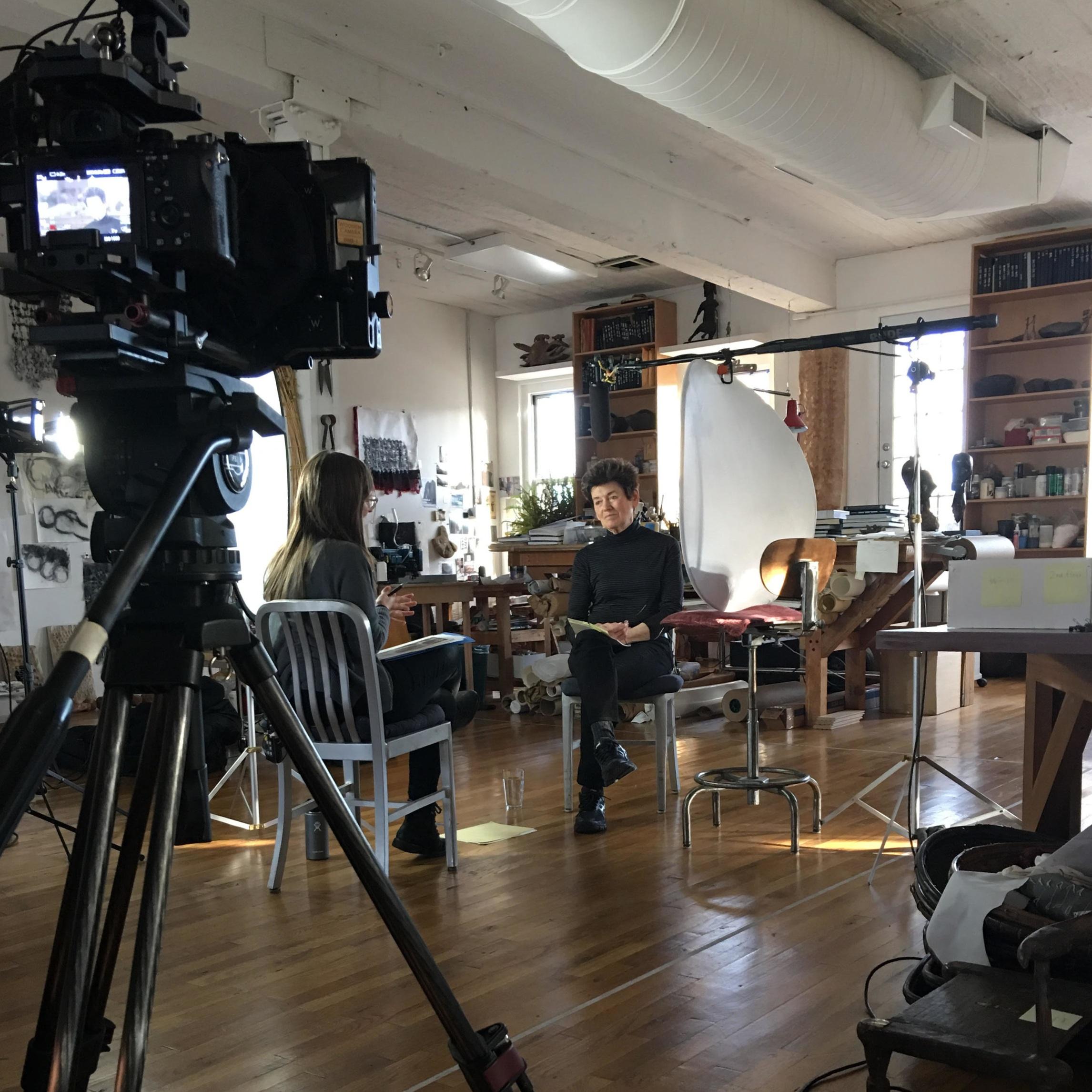 Interviewing artist Ursula von Rydingsvard for the Storm King Oral History Program