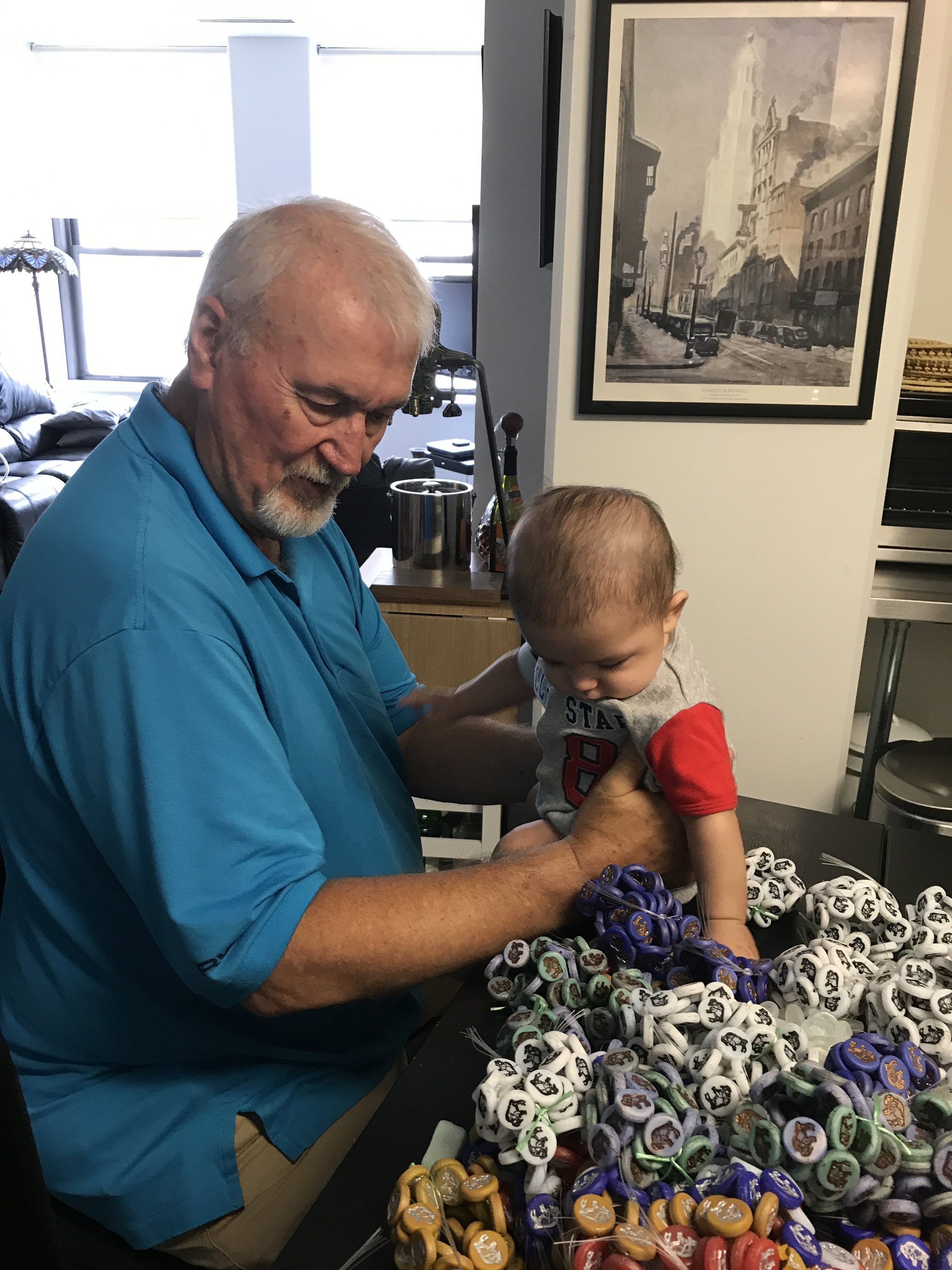 Seven months after sharing cookies and ideas with the Soklova's the first herd arrived in Buffalo - the same day as our grandson Landon's first visit to Buffalo. He immediateely joined his grandfather inspecting the new product — and clearly liked the color choices.