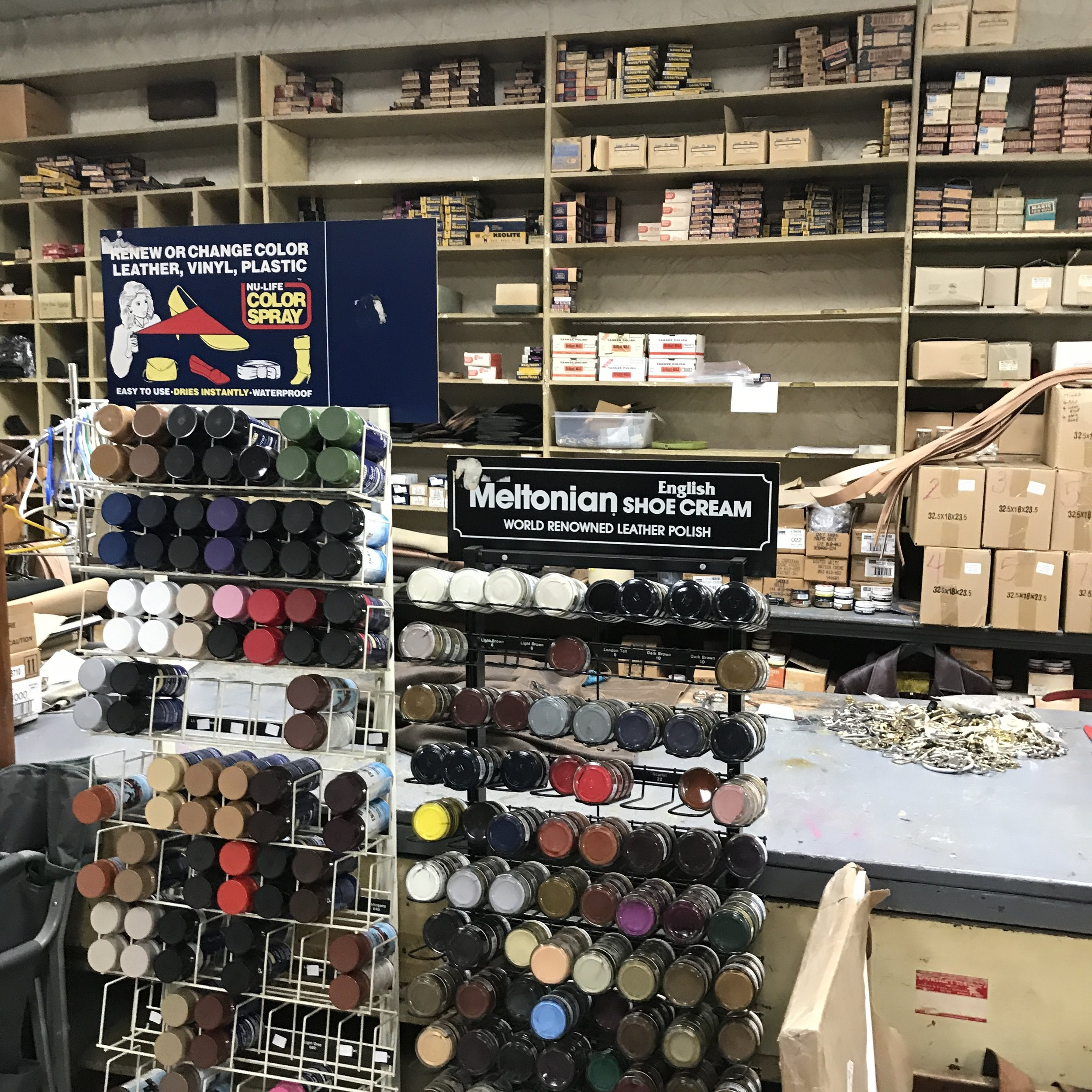 If you are looking for fancy merchandising and displays forget it, but if there is anything you need to complete a project involving leather … this is the place to be…