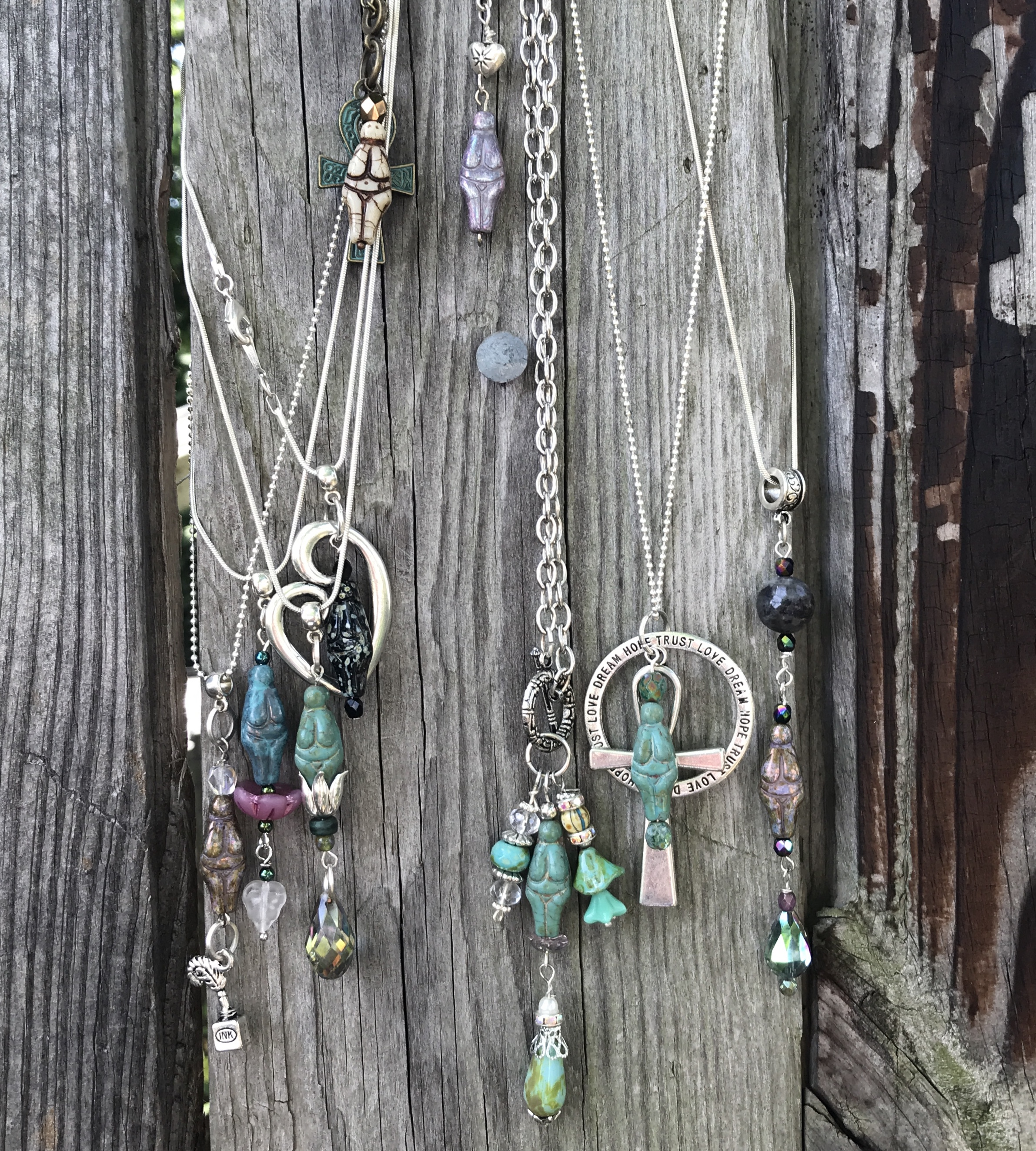 Here are some pendants made in previous Goddess class - yours will be completely different …