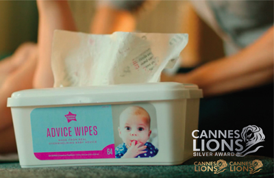 ADVICE WIPES   What to do with all those parenting advice magazines? Recycle and make them into wipes to do you know what! We recycled hundreds of magazines and replicated the entire experience of baby wipes including the authentic baby wipes scent.