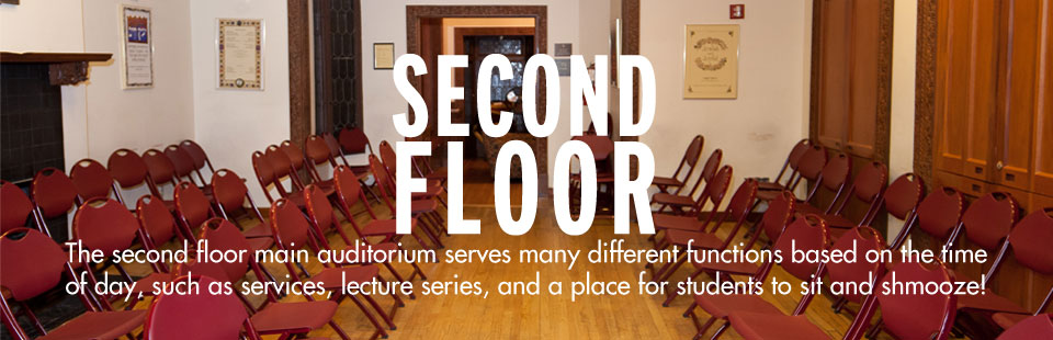 The second floor main auditorium is serves many different functions based on the time of day, such as services, lecture series, and a place for students to sit and shmooze!