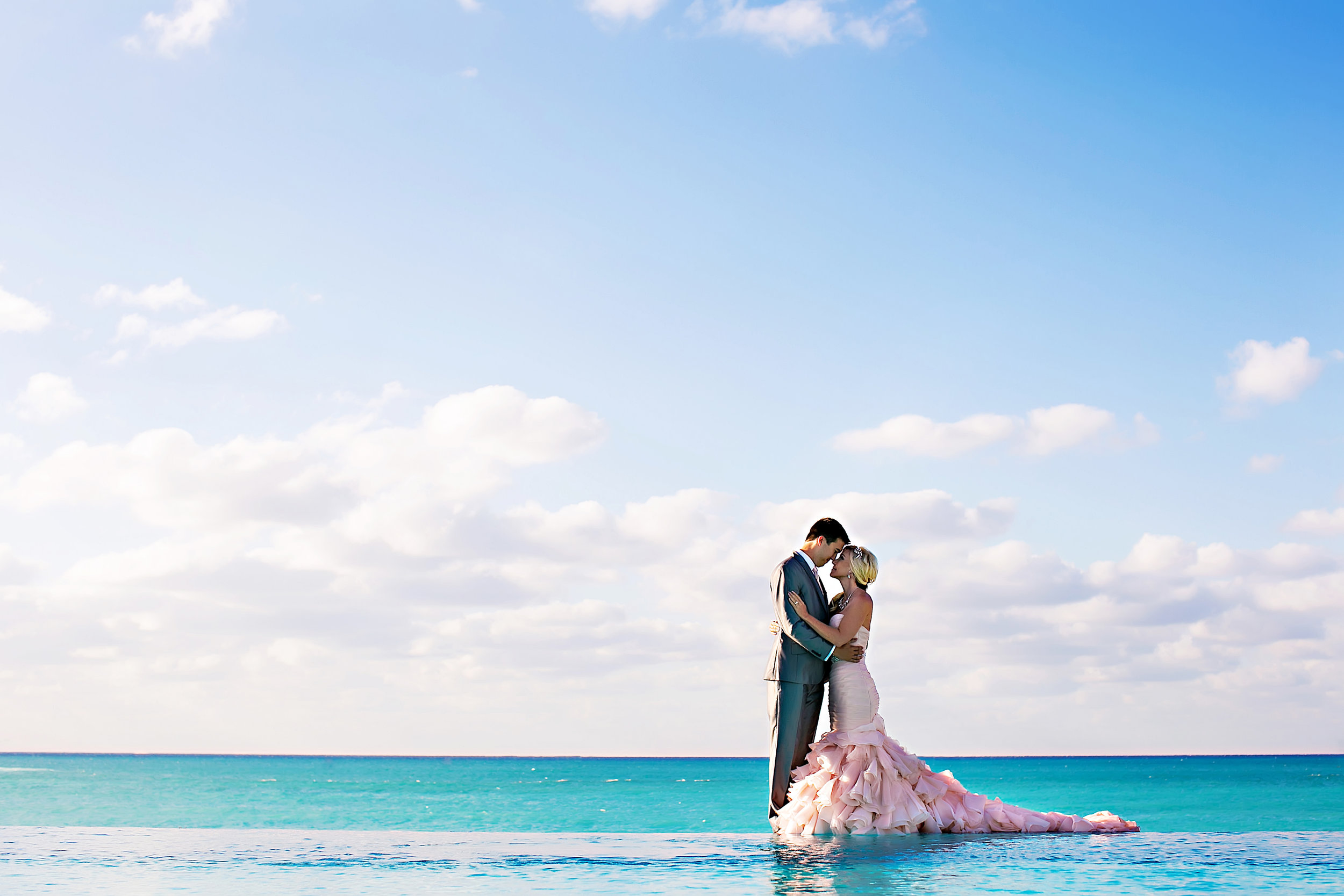 bimini, bahamas, pink wedding gown, wedding photography, ocean, beach, hilton at resorts world bimini, limelight photography