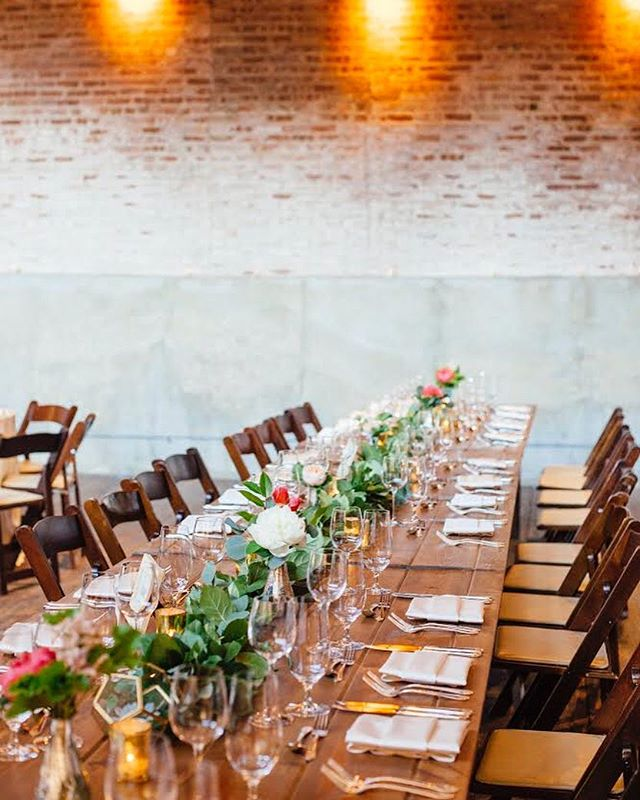 •our in-house farm tables are perfect for long feasting tables. this picture from Rebeca and Brian's wedding is just dreamy•