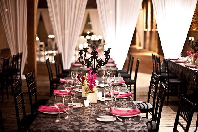 •we love the idea of getting creative with draping to section off the reception area  it is so picturesque•