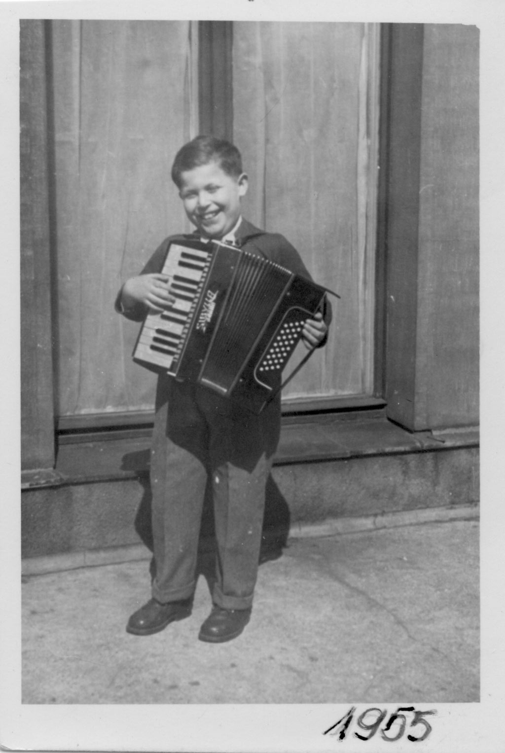 Daniel with his accordion, 1955