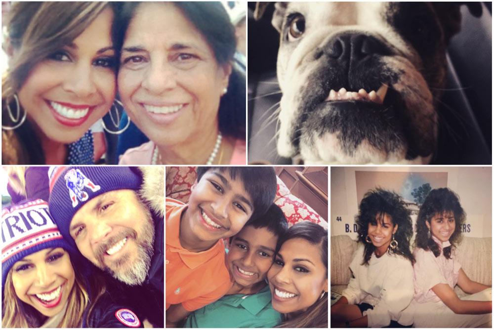 Taniya and her mom Leela, Taniya's bulldog Flynn, Taniya and her husband Brian, Taniya and her nephews Vijay and Curren, Taniya and her sister Yoshike in the 90s (mall hair!)