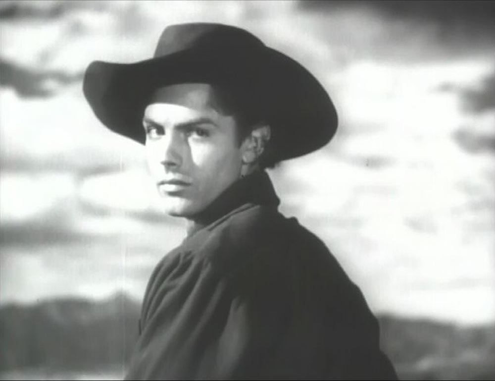 """This is my dad. He had a acting career before I was born. This is a shot from his first film with Howard Hughes, who was about to begin filming The Outlaw, Jack Buetel (Dad) was signed to play the lead role as Billy the Kid, Hughes also signed another newcomer, Jane Russell, for the female lead."""